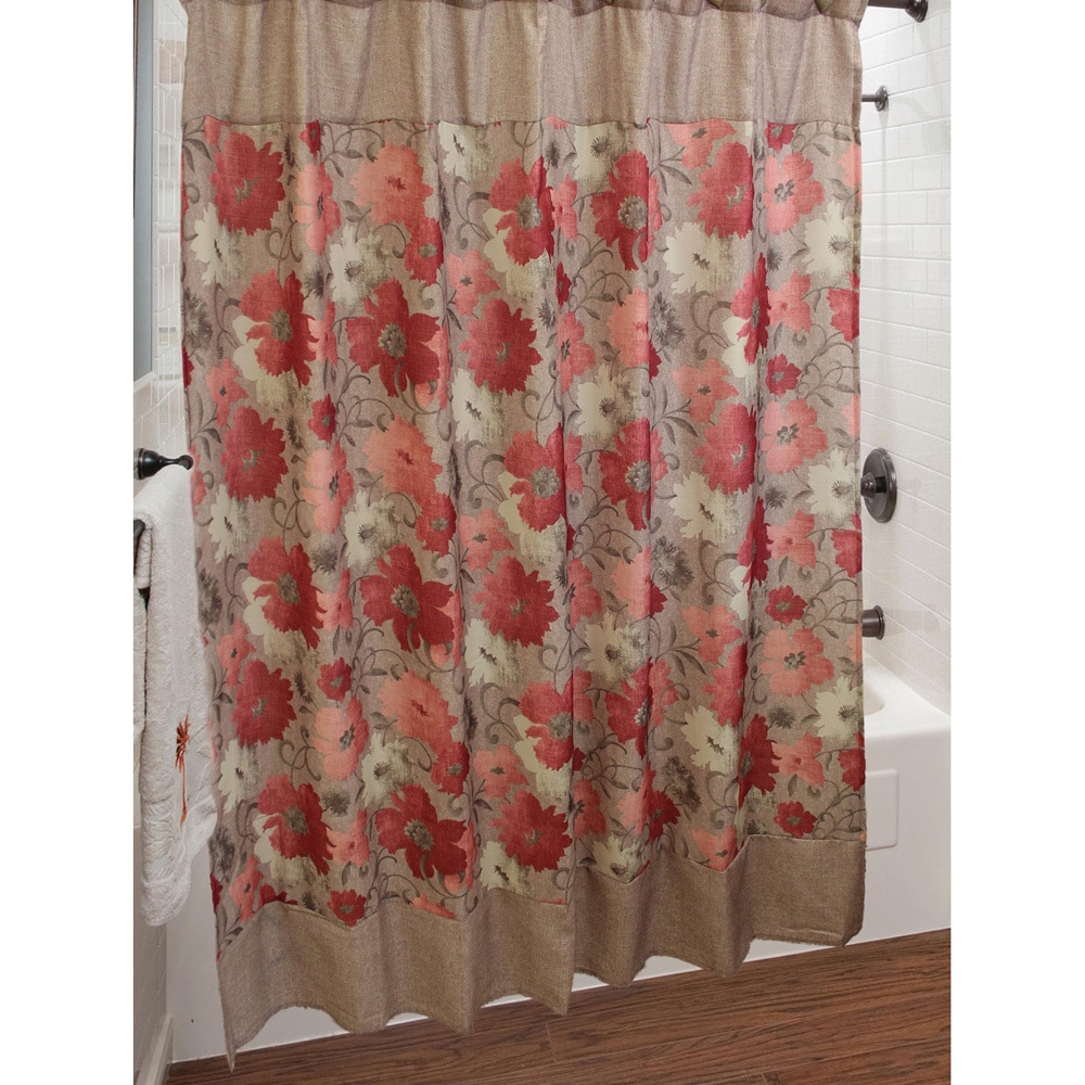 Red And Brown Shower Curtain Sherry Kline Toulon Shower Curtain With Hook Set