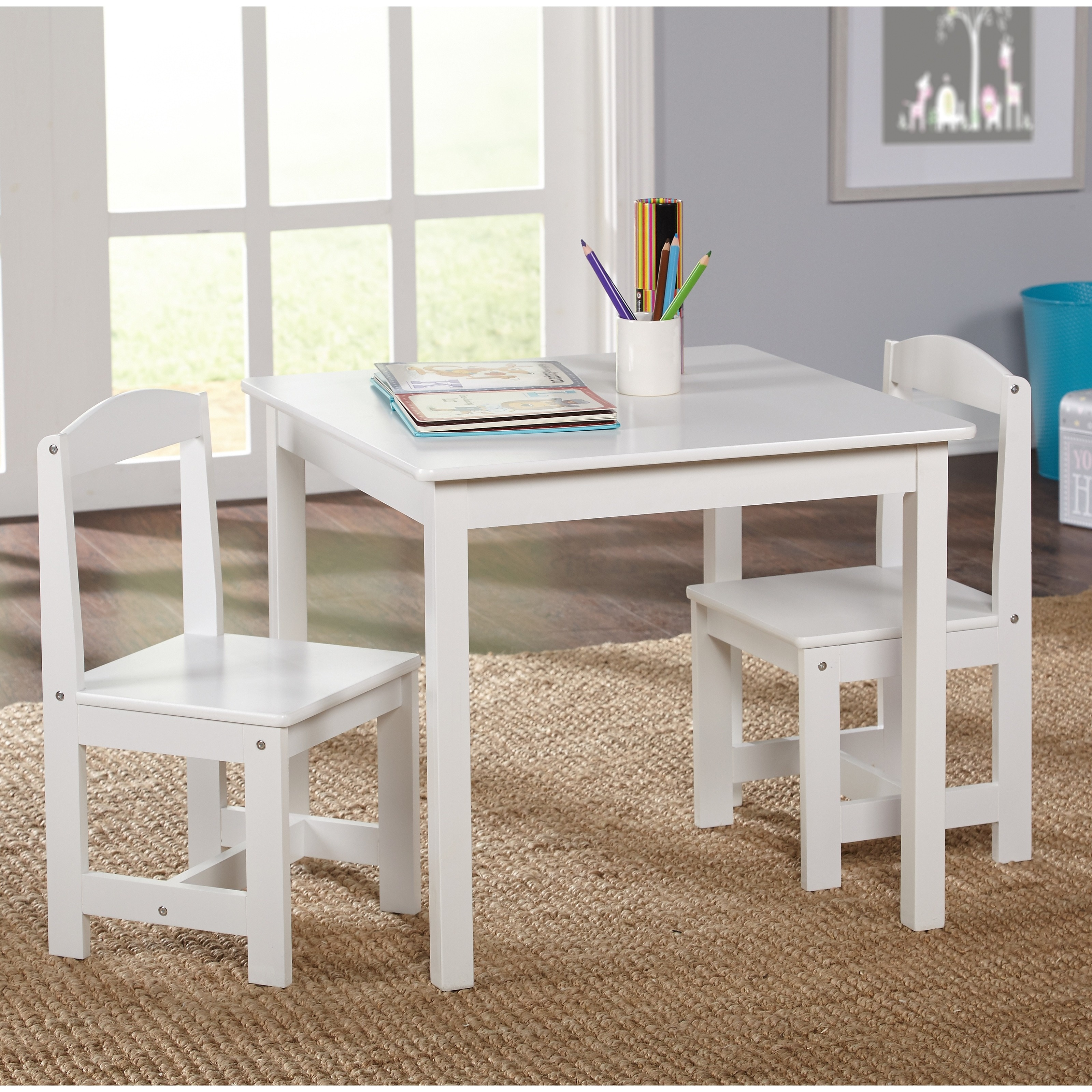 Childrens Table And Chair Set Simple Living White 3 Piece Hayden Kids Table Chair Set
