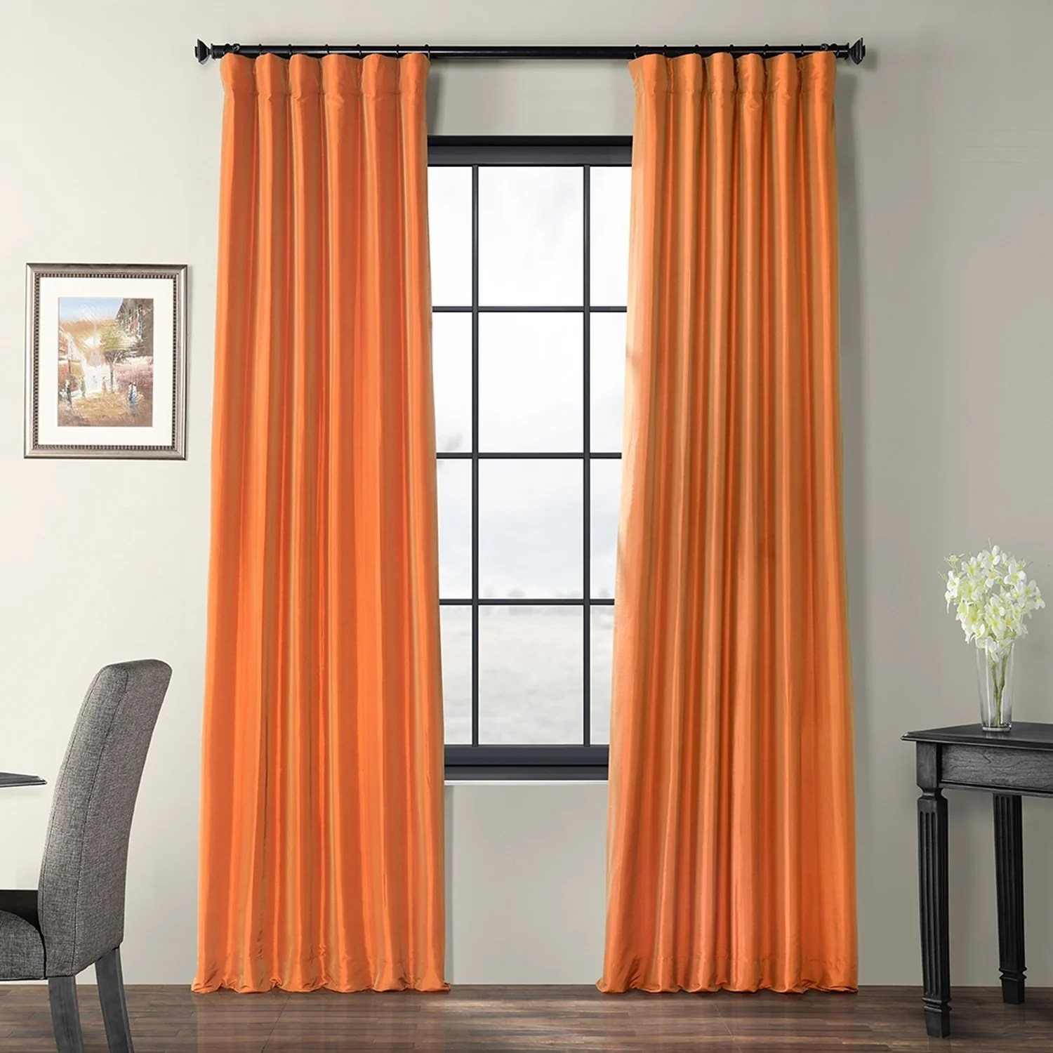 Orange Curtain Panels Exclusive Fabrics Harvest Orange Faux Silk Taffeta Curtain Panel