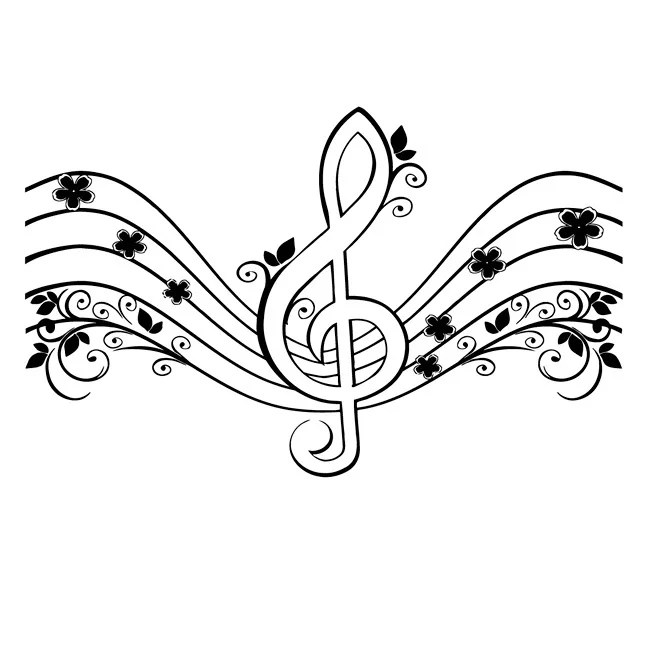 Shop Floral Musical Treble Clef Vinyl Wall Decal - Free Shipping On