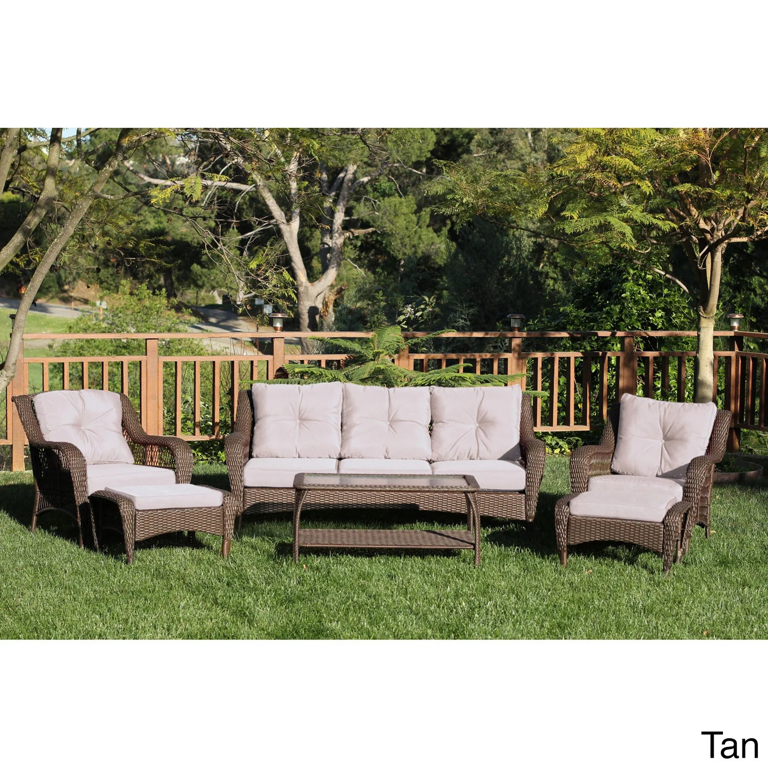 Baptist 6 Piece Rattan Sofa Set With Cushions Jeco Resin Wicker Steel 6 Piece Patio Conversation Set