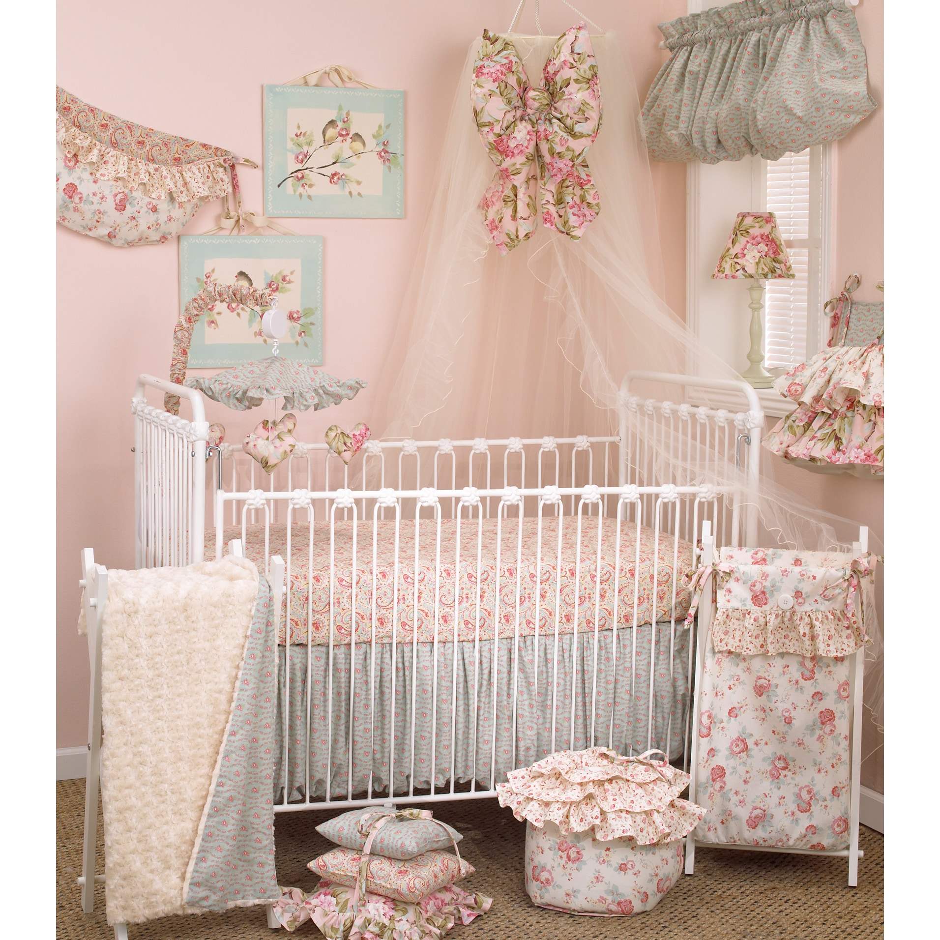 Full Crib Bedding Sets Floral Crib Bedding Set Tea Party 7 Piece Set