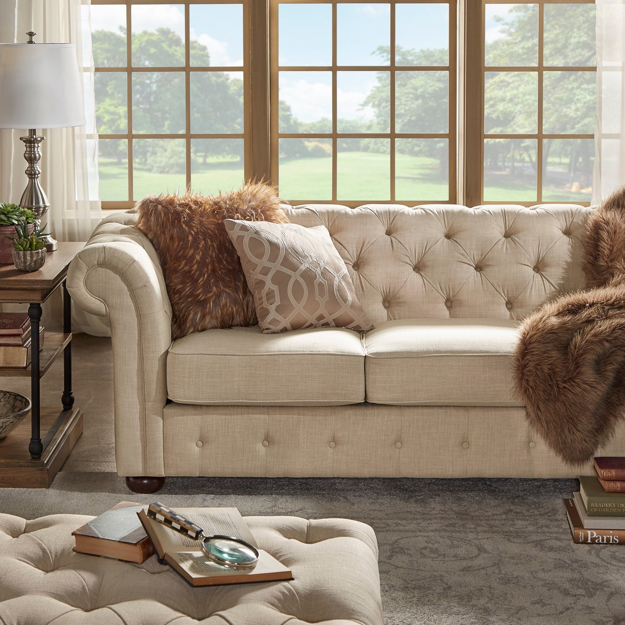 Chesterfield Lounge Knightsbridge Beige Fabric Button Tufted Chesterfield Sofa And Seating By Inspire Q Artisan