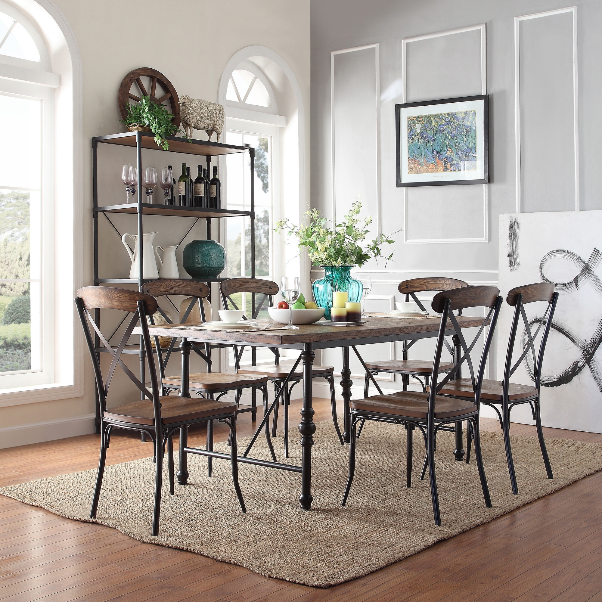 Modern Dining Set Nelson Industrial Modern Cross Back 7 Piece Dining Set By Inspire Q Classic