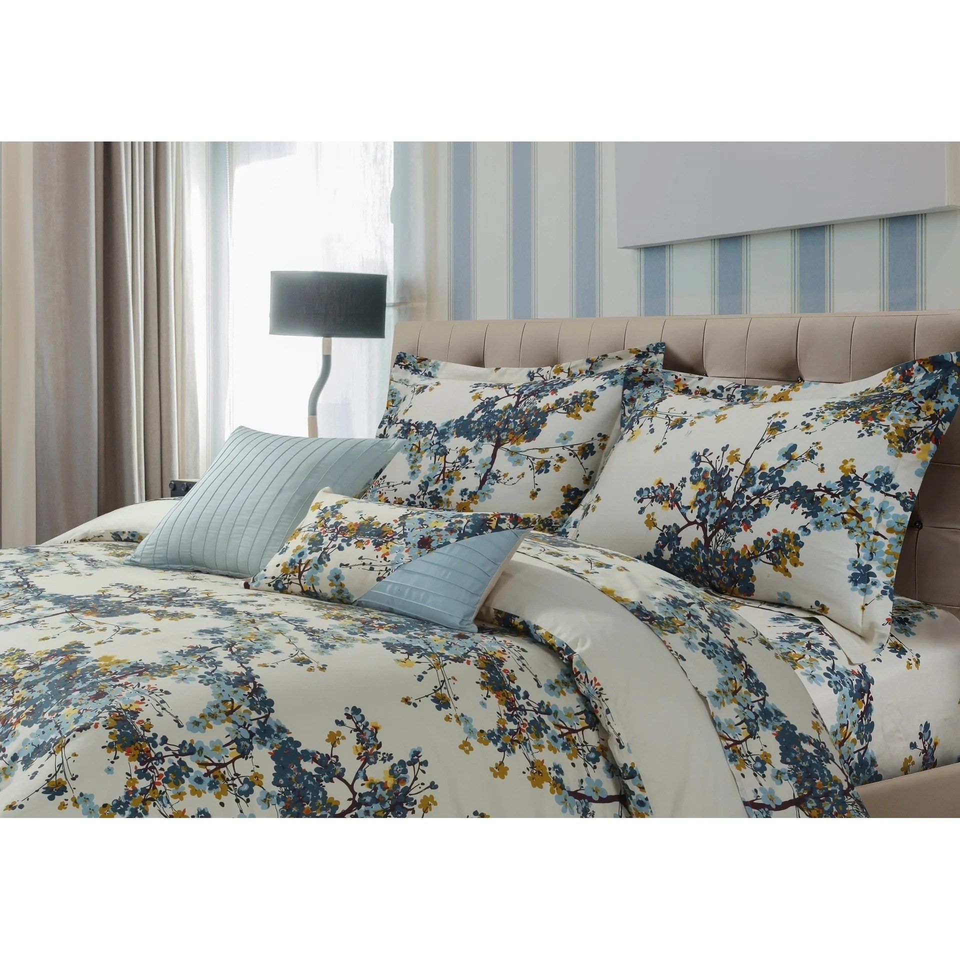 Duvet And Cover Tribeca Living Casablanca 5 Piece Cotton Sateen Floral Oversized Duvet Cover Set