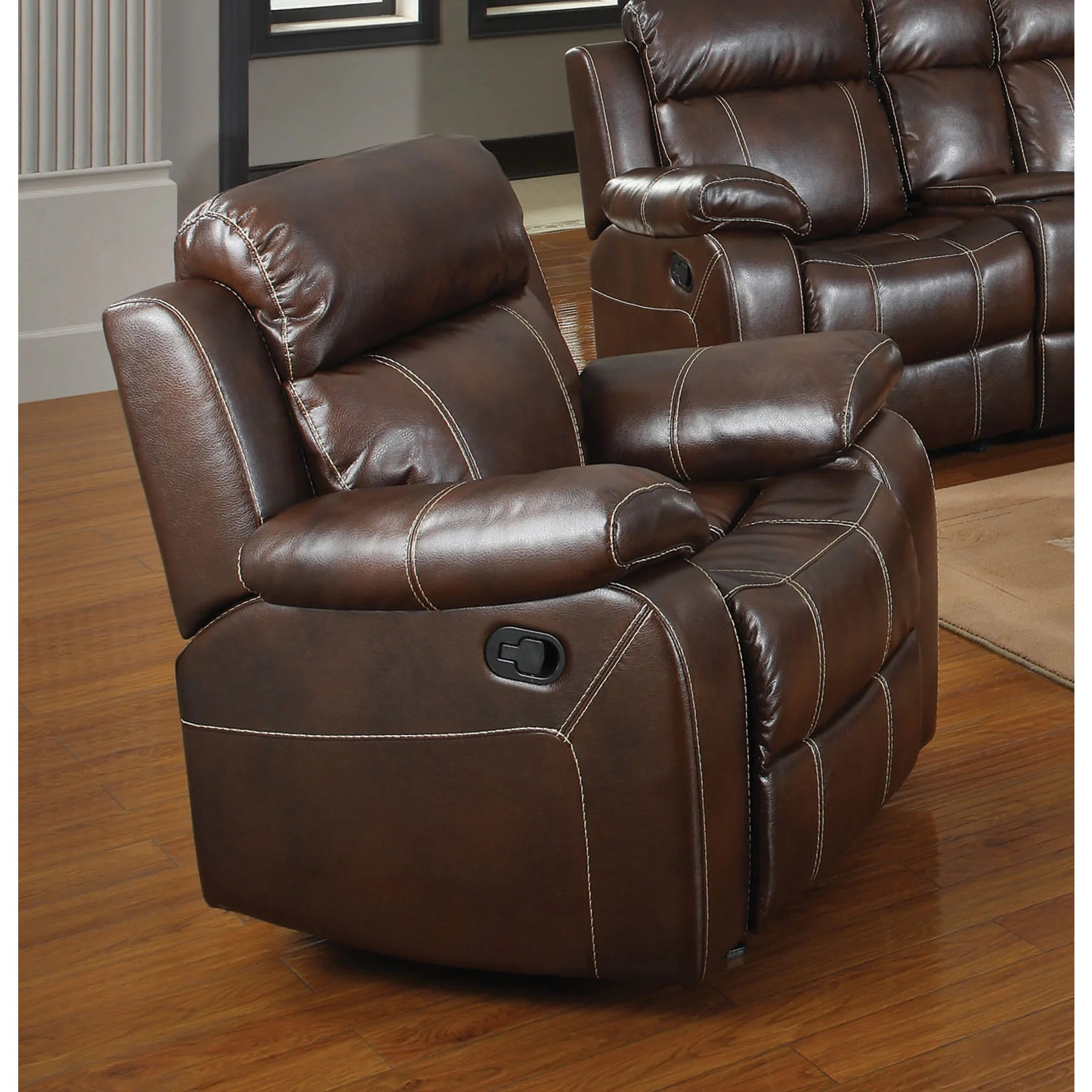 Recliner Pillow Copper Grove Glentress Chestnut Glider Recliner With Pillow Arms