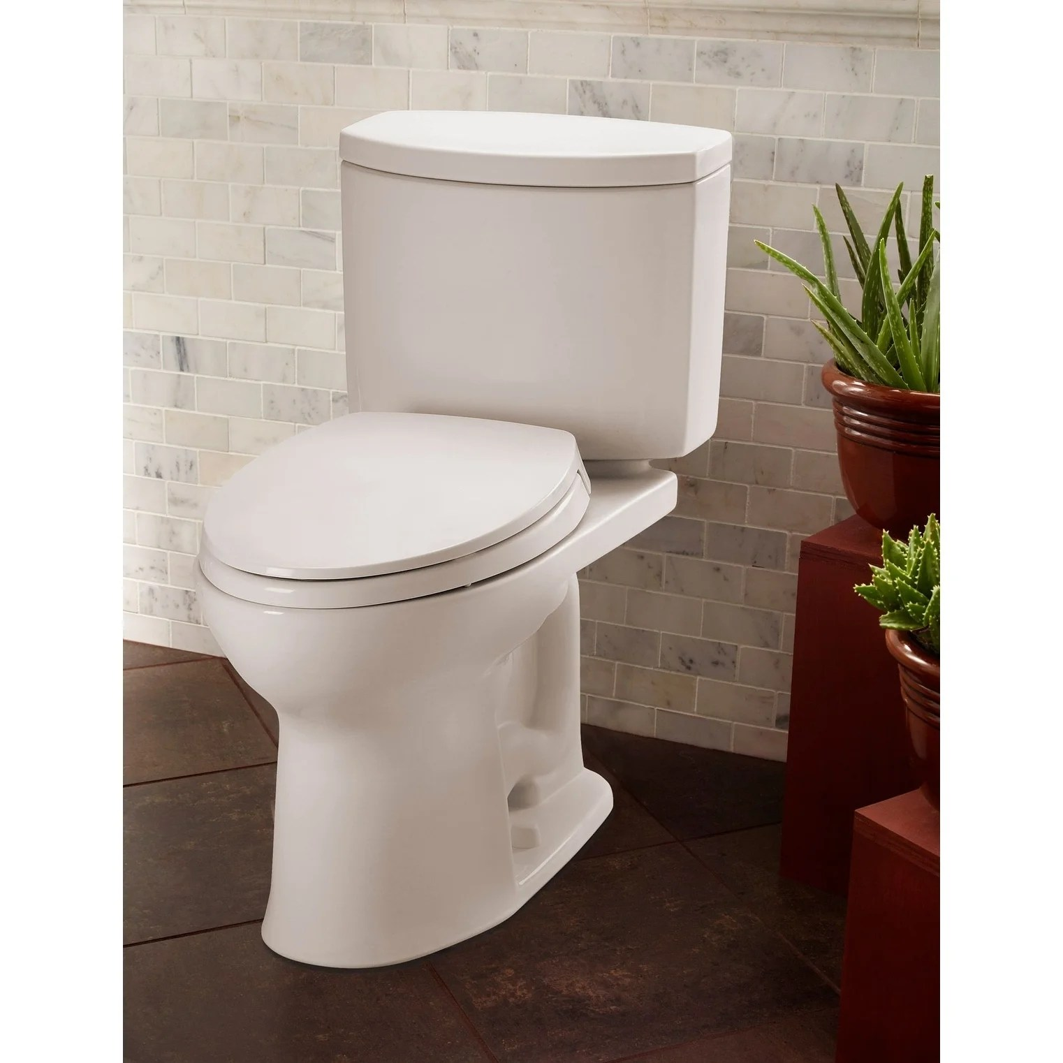 Toilette Toto Toto Drake Ii Two Piece Elongated 1 28 Gpf Universal Height Toilet With Cefiontect Cotton White Cst454cefg 01