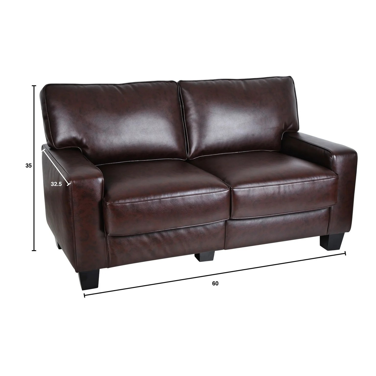 Sofa 60er Serta Rta Monaco Collection 60 Inch Brown Leather Sofa