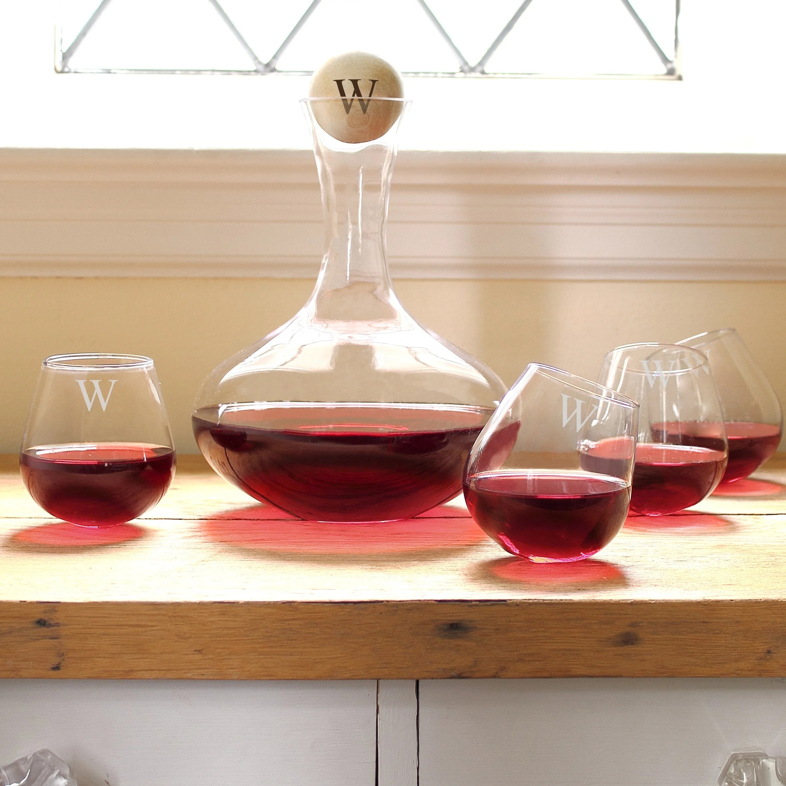 Decanter Wine Glas Personalized 5 Piece Wine Decanter Tipsy Tasters Set