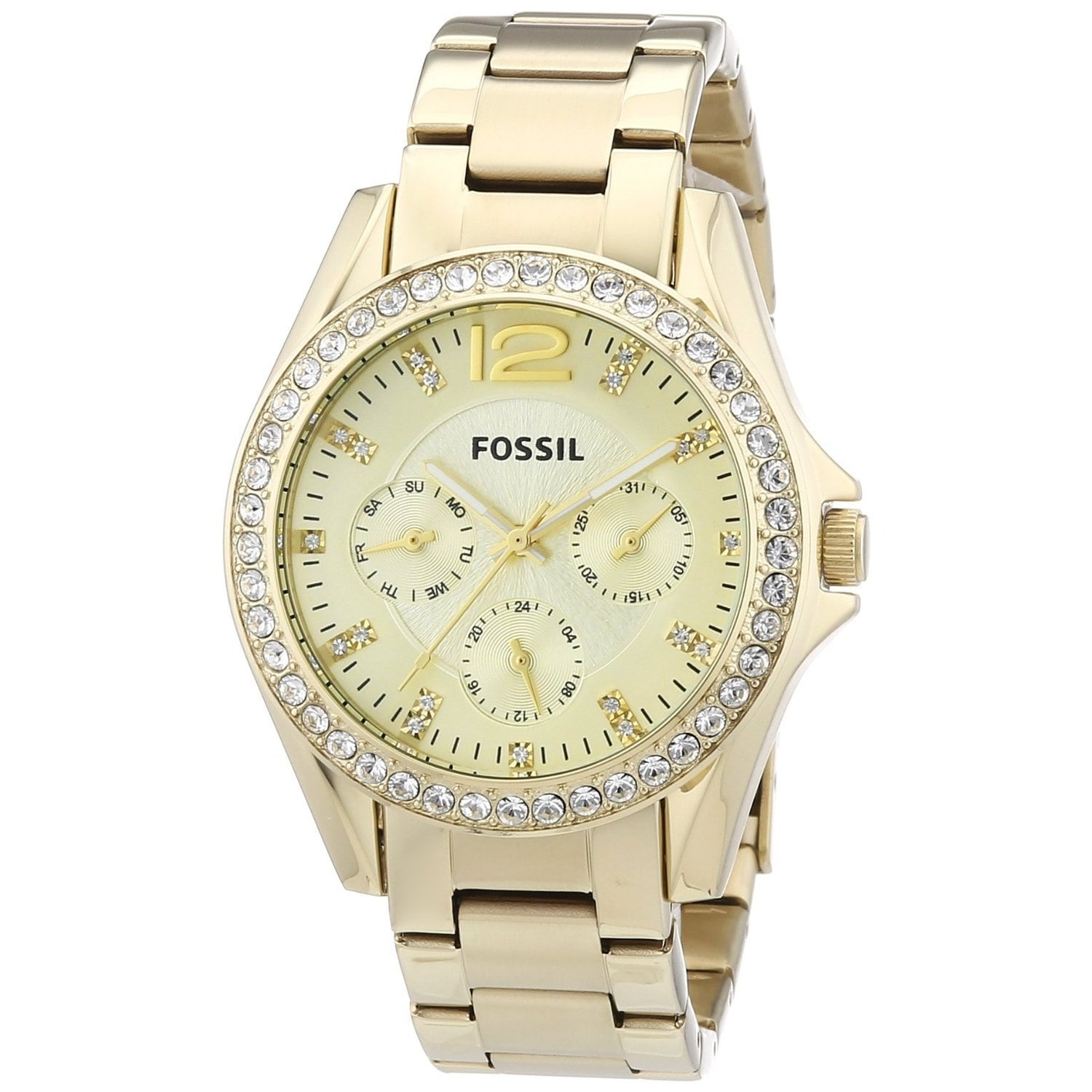 Fossil Riley Fossil Women S Es3203 Riley Multifunction Stainless Steel Gold Tone Watch