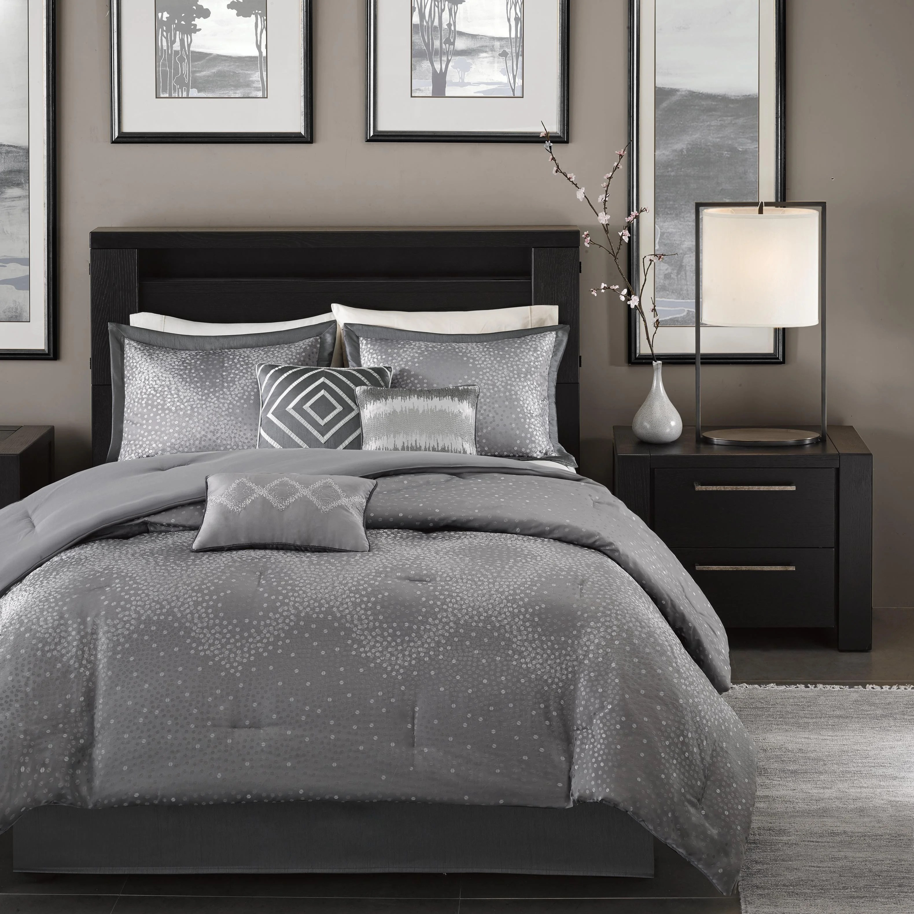 Duvet Covers And Comforters Madison Park Crawford Grey Jacquard 7 Piece Comforter Set