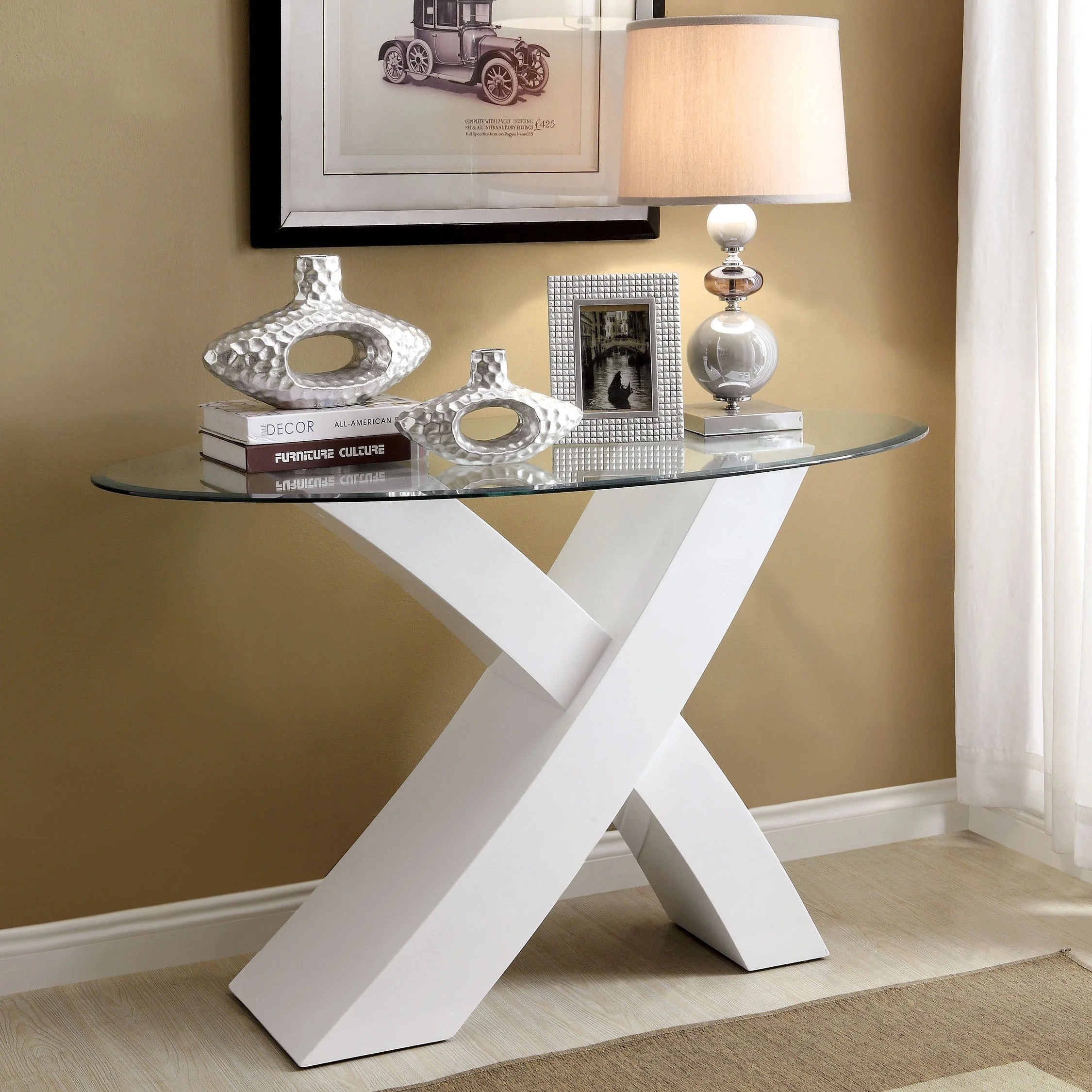 Glass Sofa Table Decor Furniture Of America Cass Glass Accent Sofa Table
