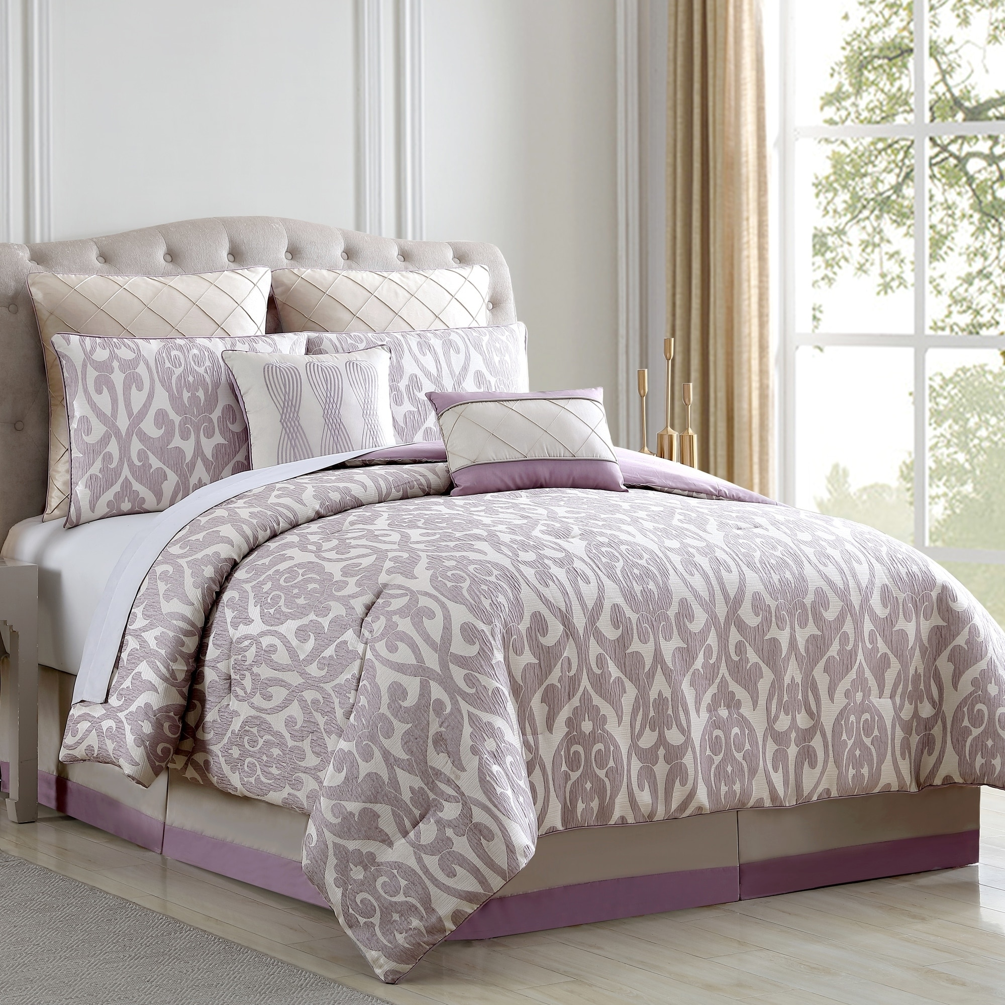 Duvet And Comforter Sets Amraupur Overseas Alina Floral Damask 8 Piece Comforter Set