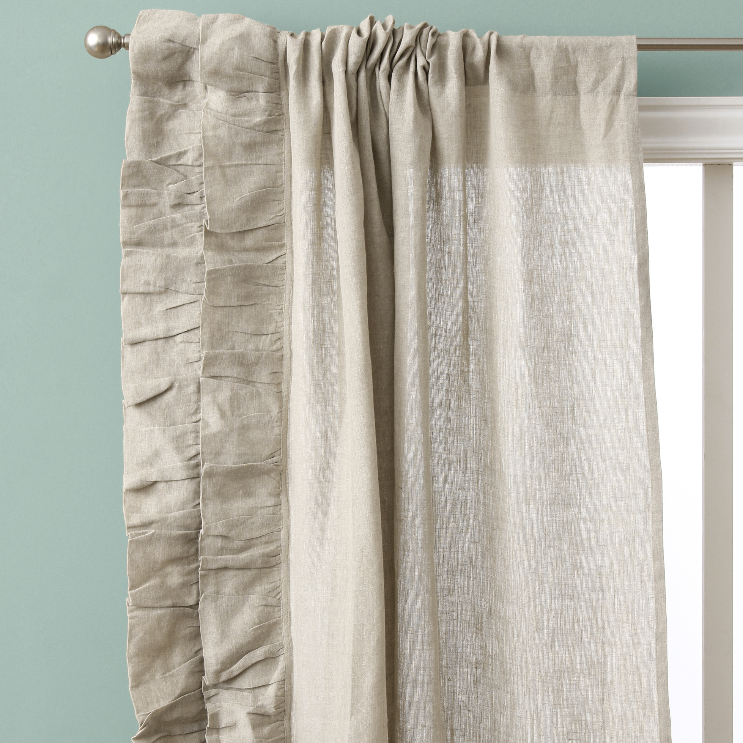 Ruffle Curtain Panel Cottage Home Linen Ruffled Curtain Panel Pair