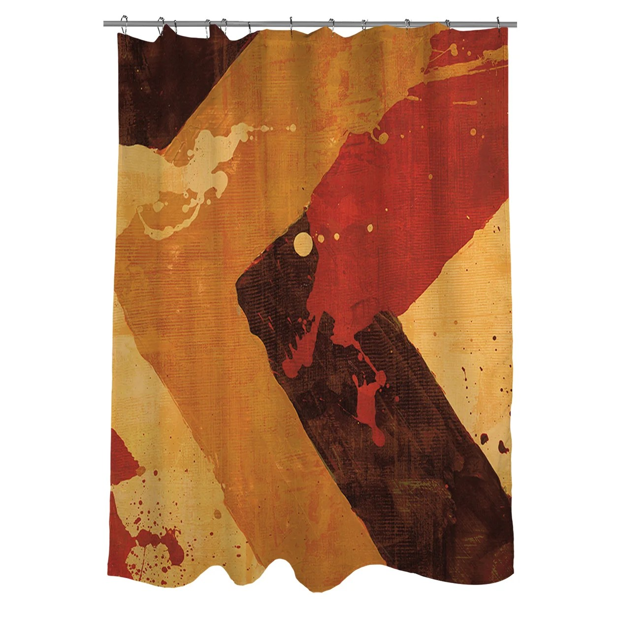 Red And Brown Shower Curtain Splatter I Red Shower Curtain