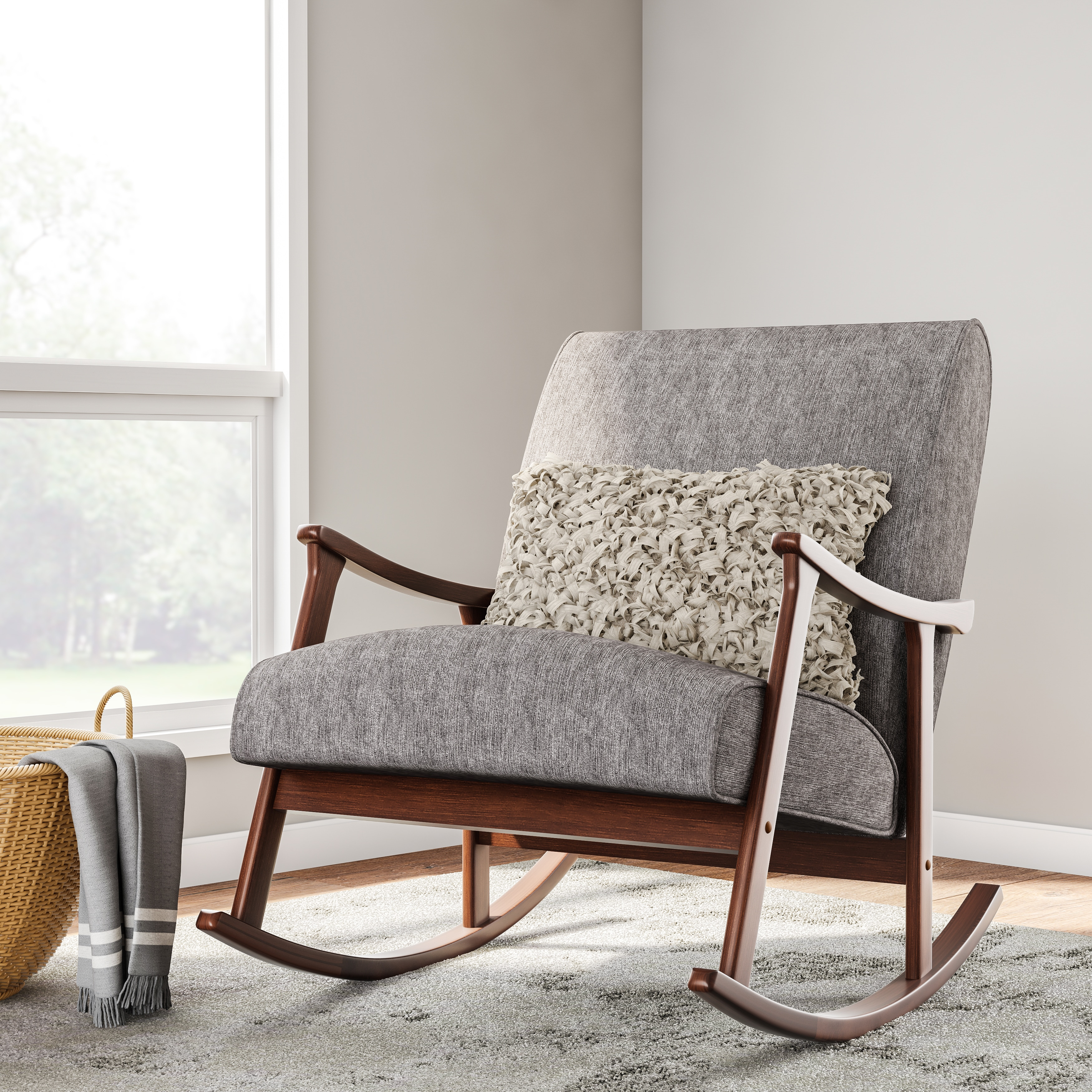 Best Place To Buy Rocking Chairs Carson Carrington Granite Grey Fabric Mid Century Wooden Rocking Chair