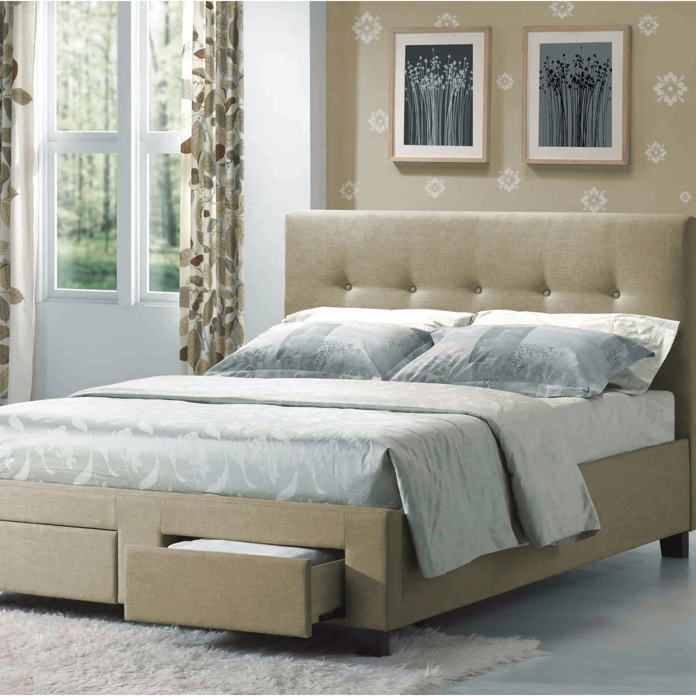 Tanning Beds Sydney Sydney Beige Twin Upholstered Bed With Tufted Headboard And Hidden Storage