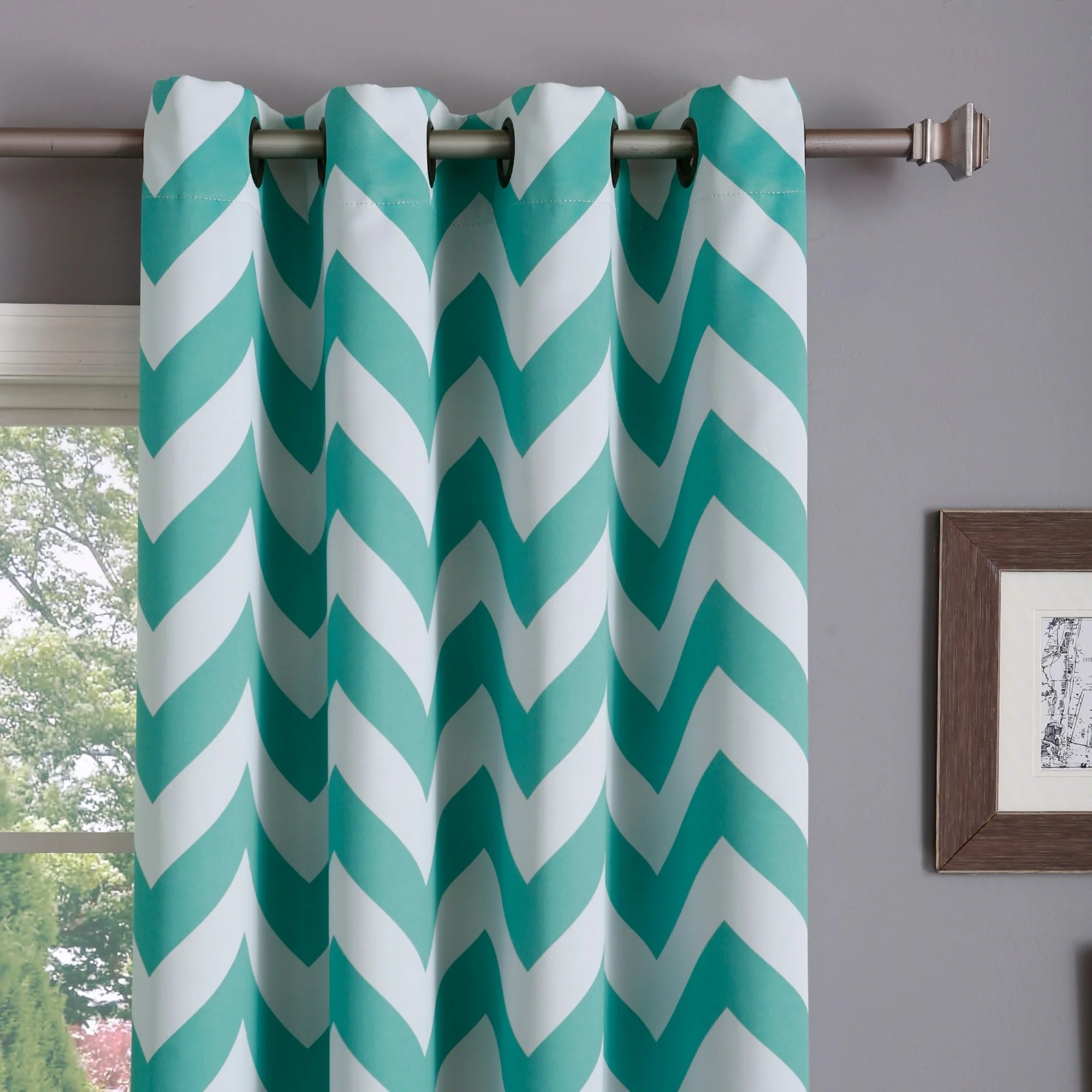 36 Inch Room Darkening Curtains Aurora Home Chevron Print Room Darkening Grommet 96 Inch Curtain Pair