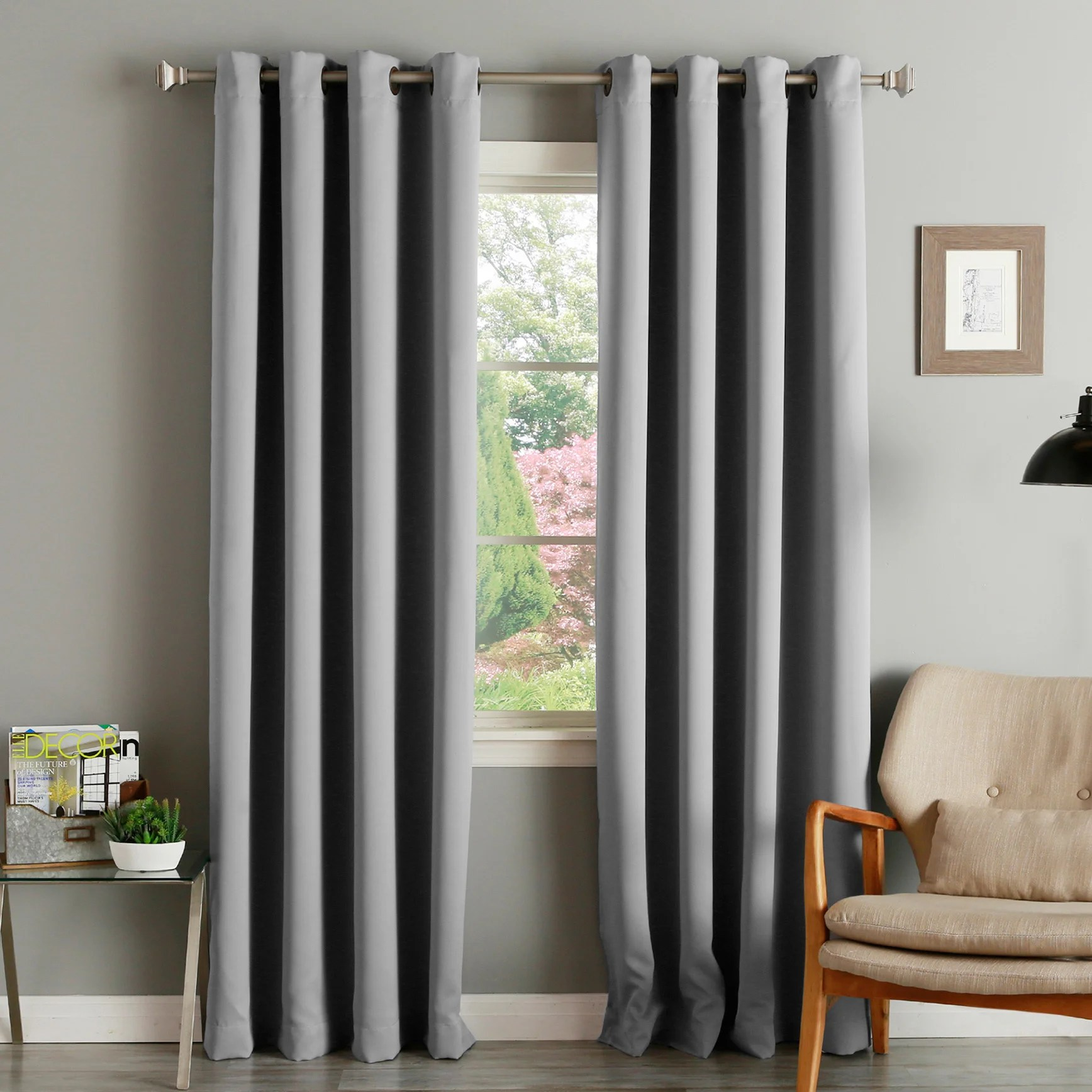 94 Inch Blackout Curtains Aurora Home Thermal Insulated Blackout Grommet Top Curtain Panel Pair