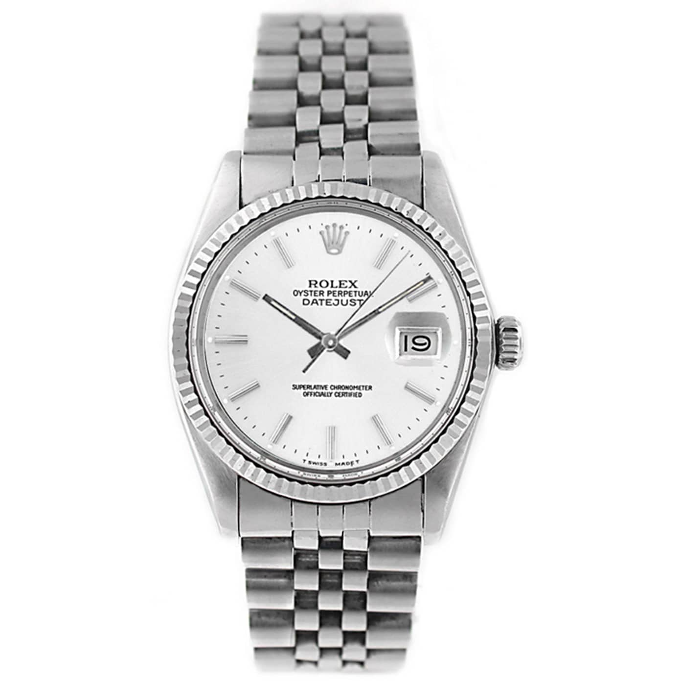 Stainless Rolex Pre Owned Rolex Men S Datejust 16014 Stainless Steel White Stick Watch