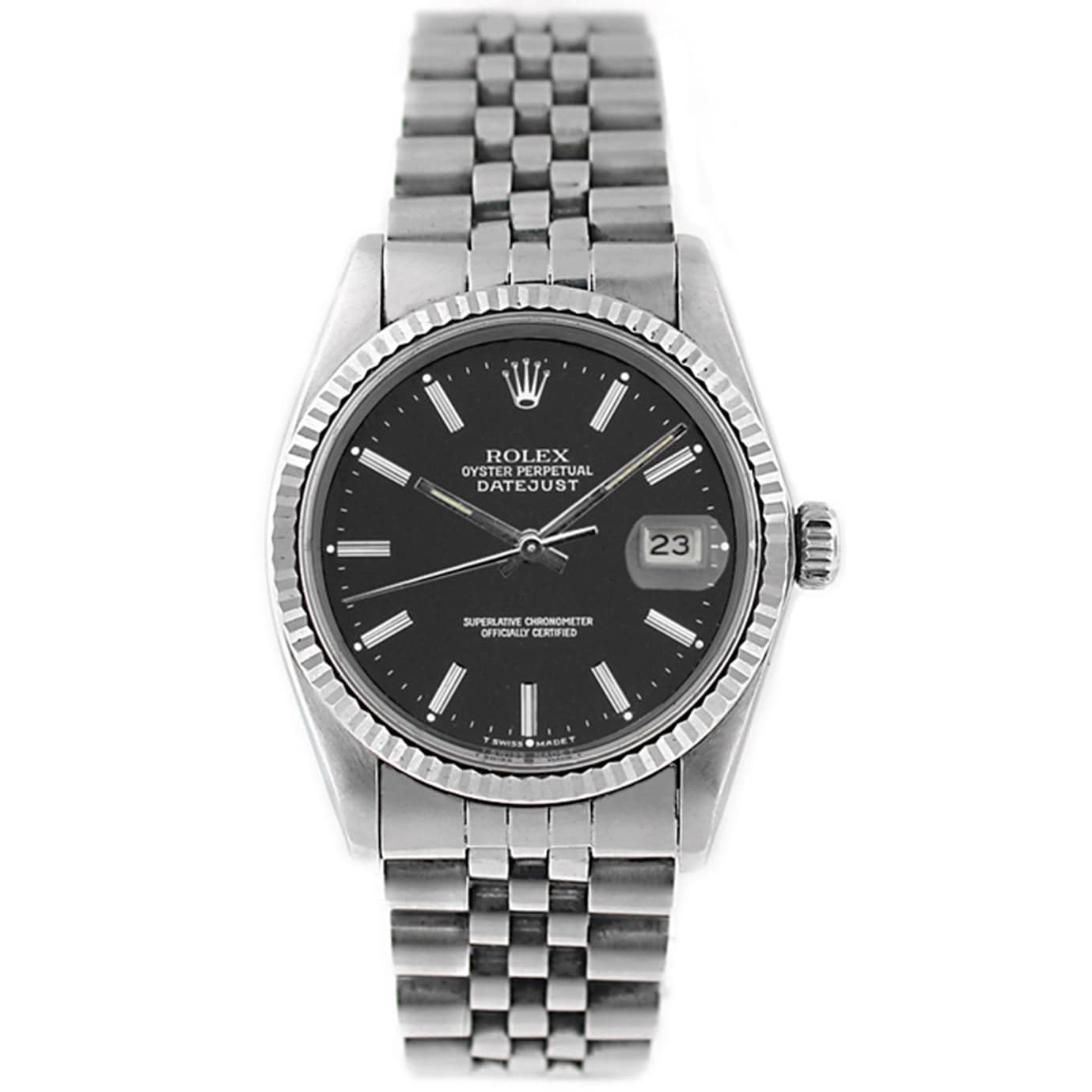 Stainless Rolex Pre Owned Rolex Men S Datejust 16014 Stainless Steel And White Gold Black Stick Watch