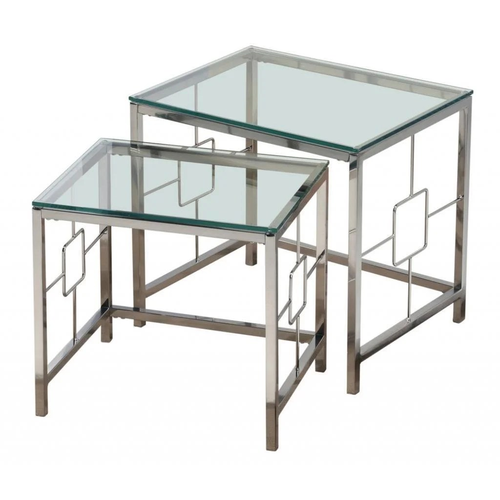 Glass Nesting Tables Athena Chrome And Clear Glass Nesting Tables Set Of 2