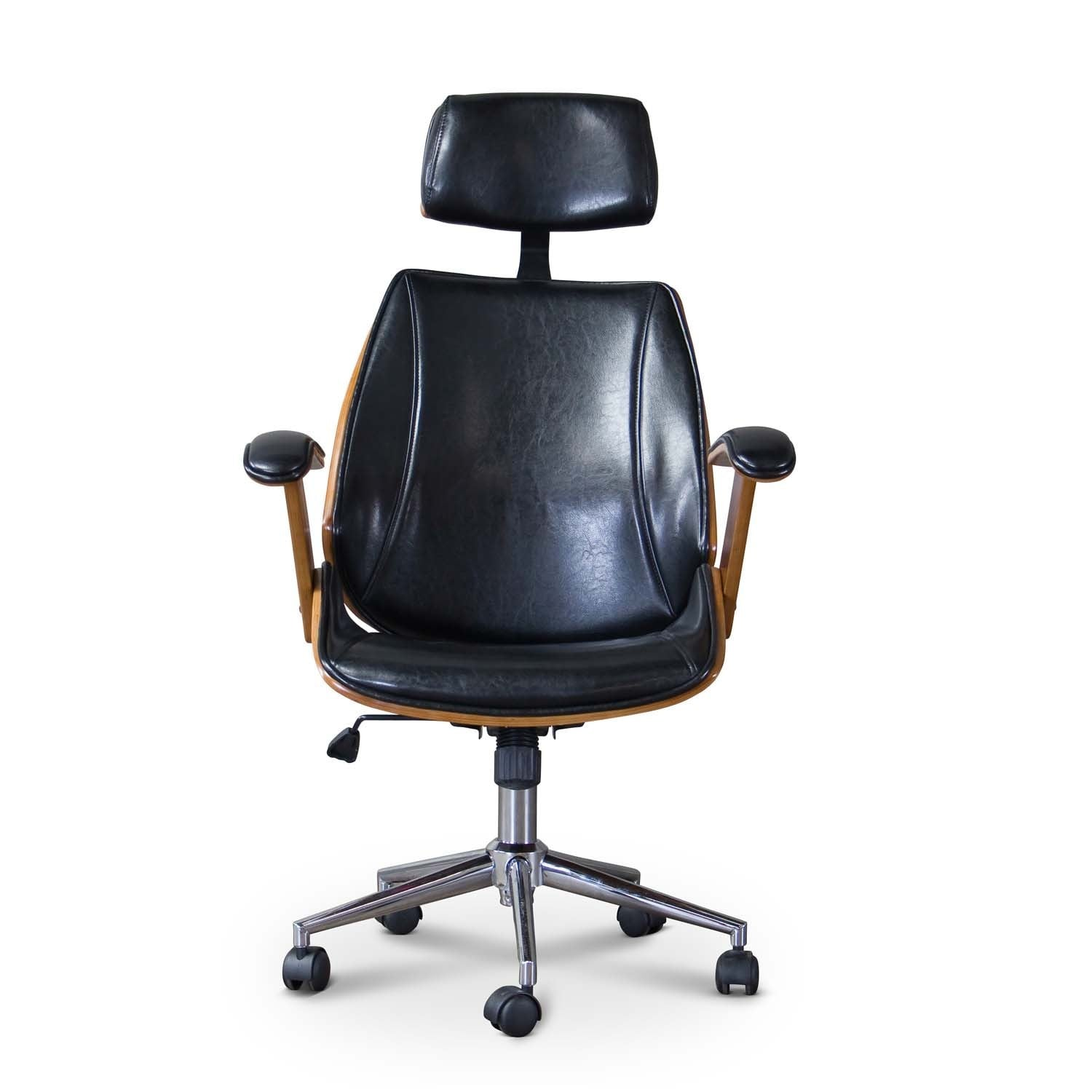 Office Furniture Hamilton Baxton Studio Hamilton Walnut Black Faux Leather Office Chair With Headrest