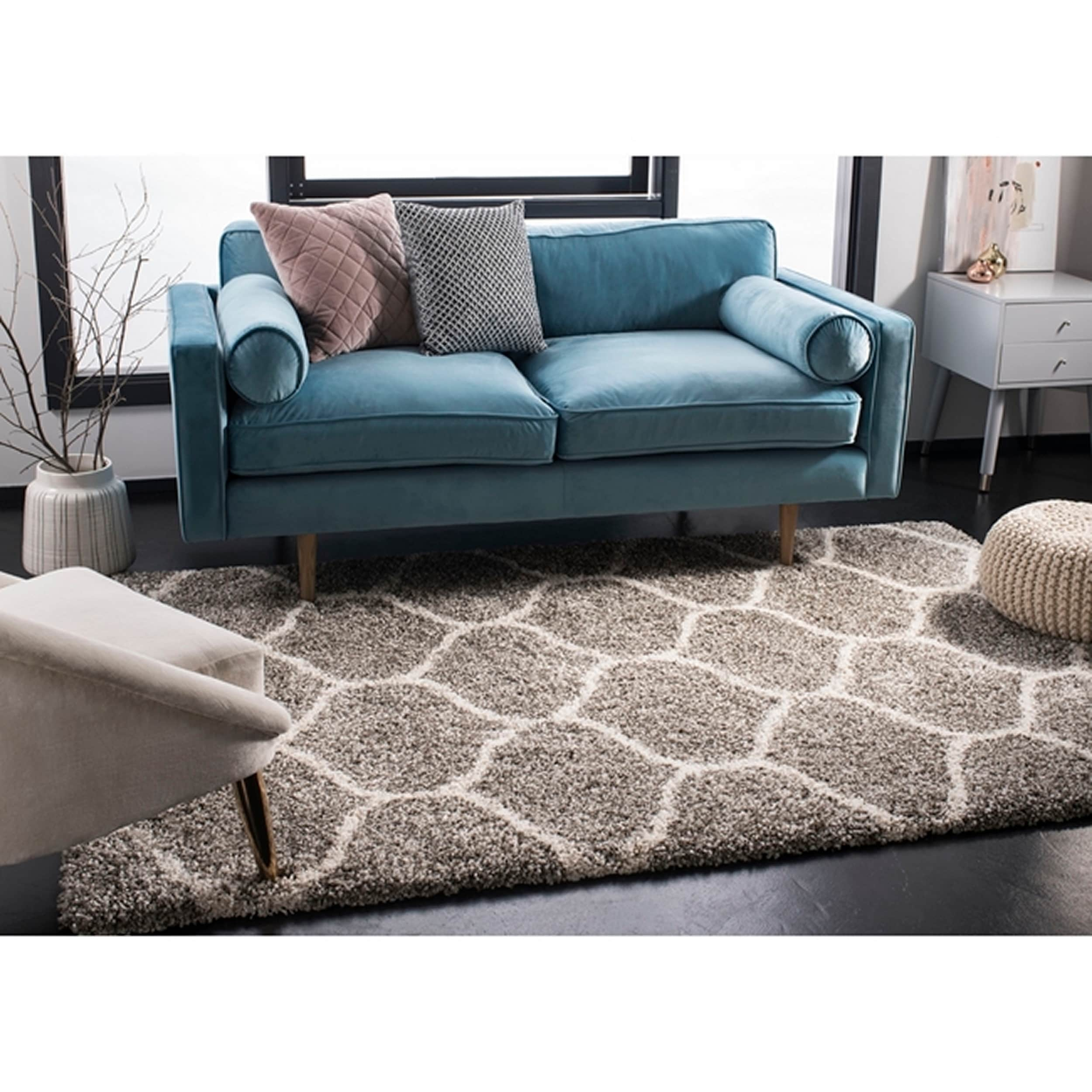 Review 4x6 Sofa Safavieh Hudson Moroccan Ogee Grey Ivory Shag Rug 4 X 6
