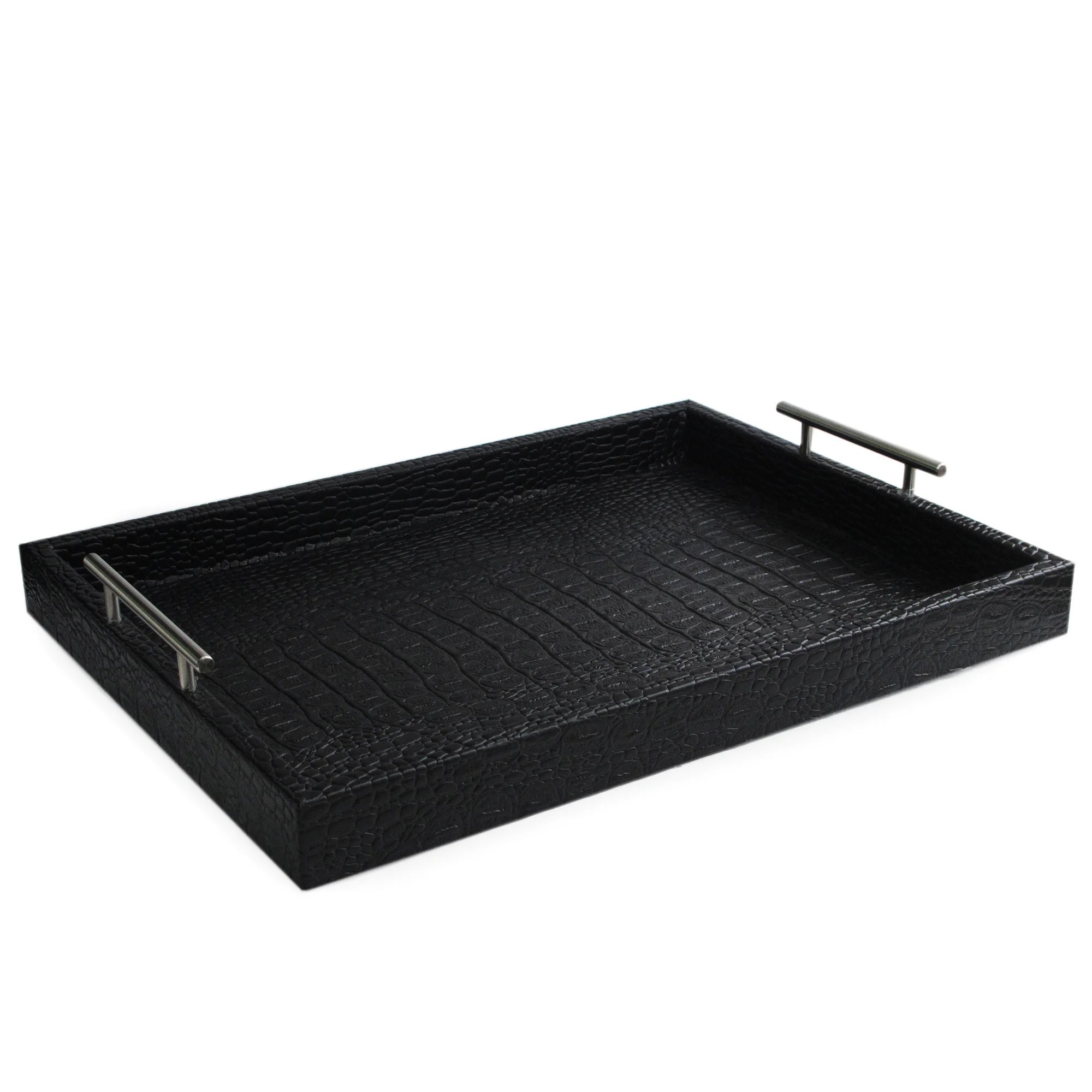 Black Serving Tray Black Leather Alligator Tray With Handles