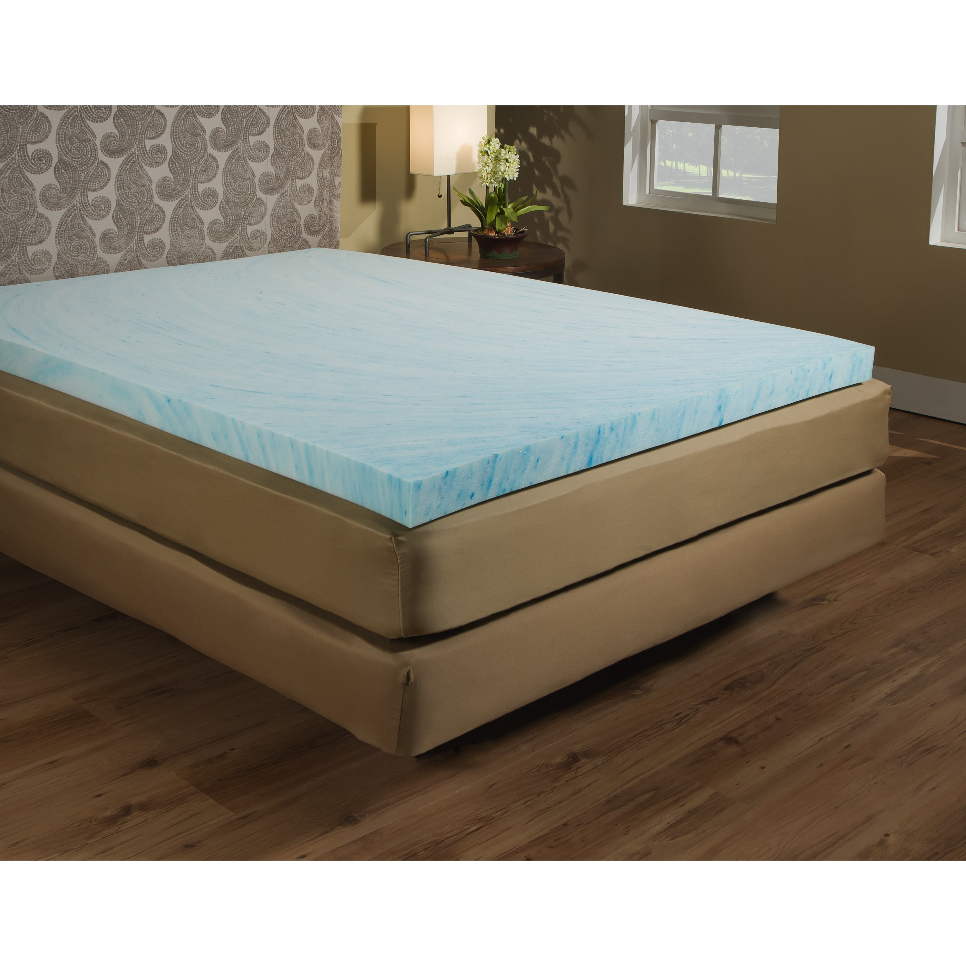 Gel Topper 200x200 1 5 Inch Gel Memory Foam Mattress Topper Light Blue