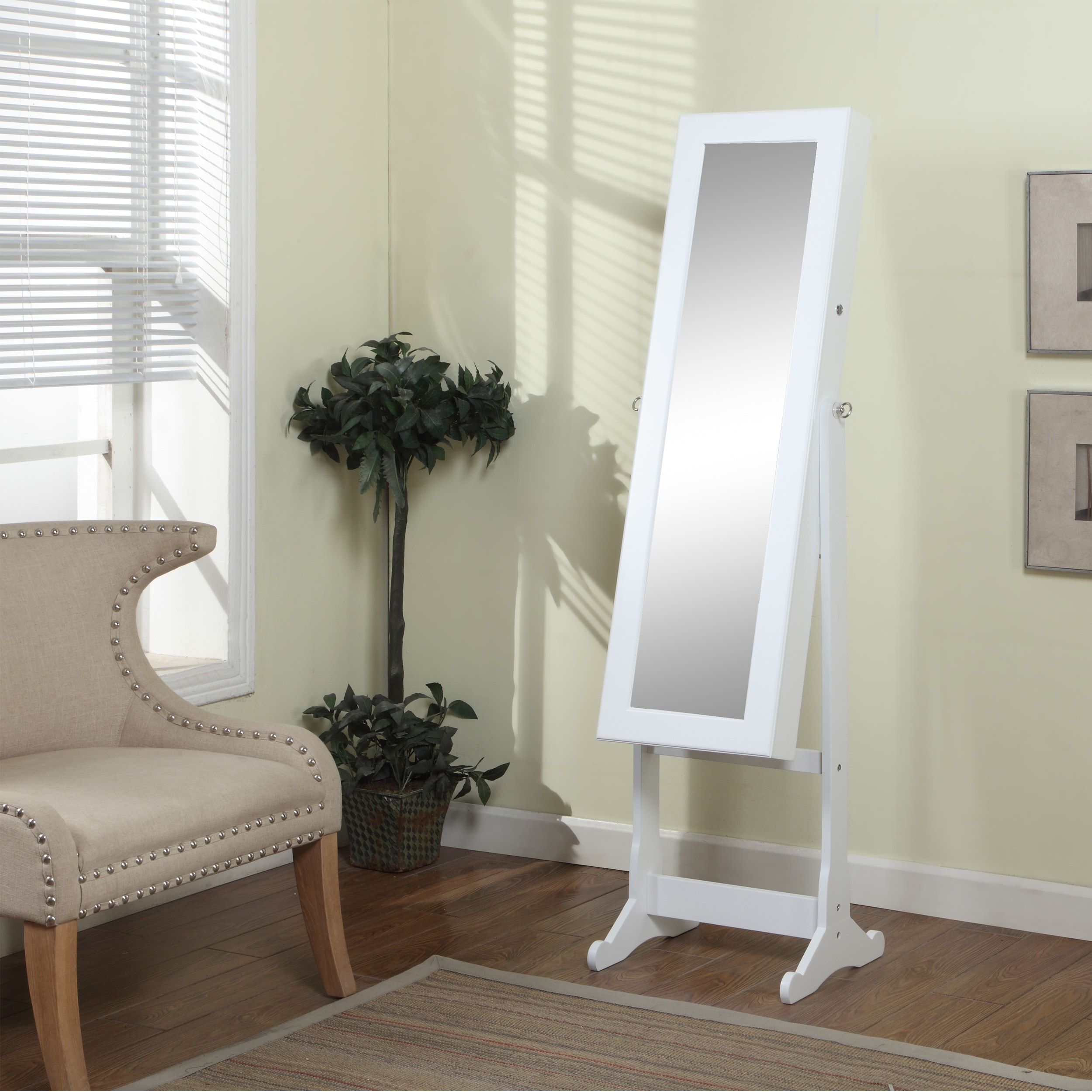 White Floor Mirror Artiva Usa 63 Inch White Floor Standing Mirror And Jewelry Armoire With Led Light