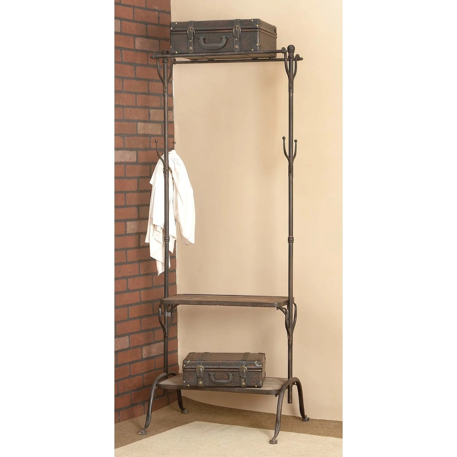 Industrial Clothing Rack Industrial 69 X 25 Inch Wood And Metal Clothes Rack By Studio 350
