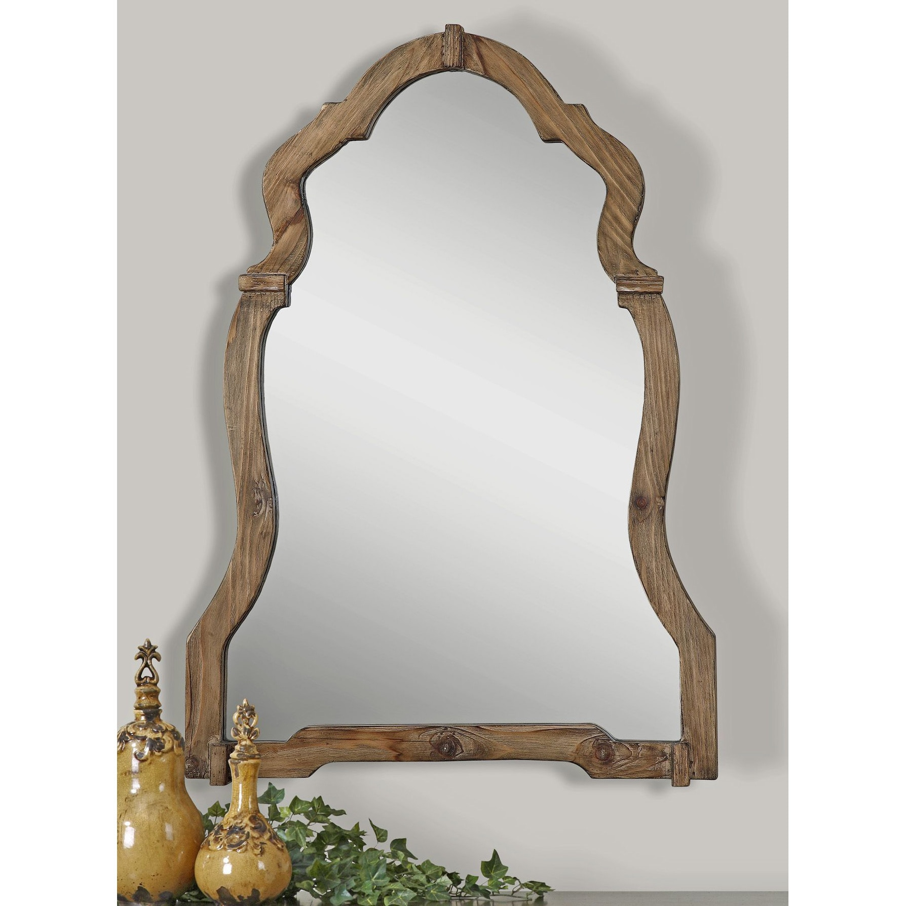 Decorative Mirror Uttermost Agustin Light Walnut Decorative Mirror