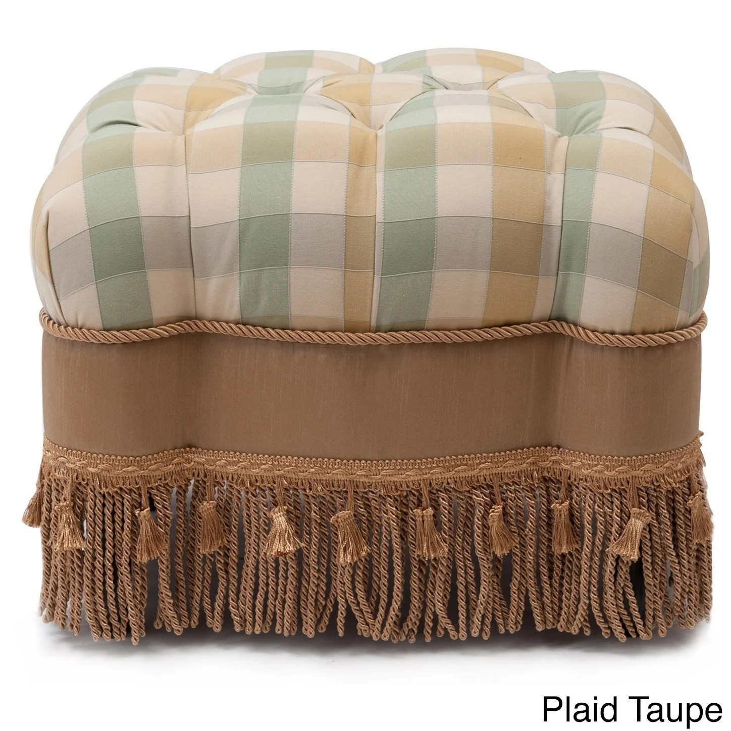 Plaid Taupe Jennifer Taylor Nancy Traditional Vanity Stool