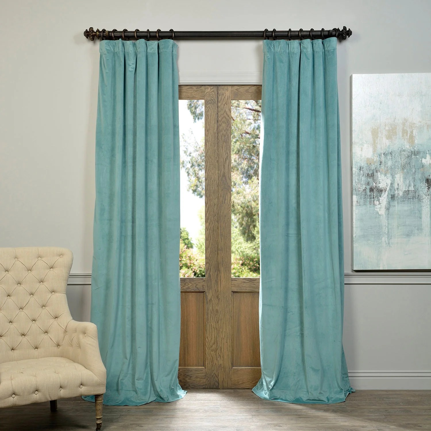 Teal Blackout Curtains Exclusive Fabrics Signature Velvet 84 Inch Blackout Curtain Panel 50 X 84