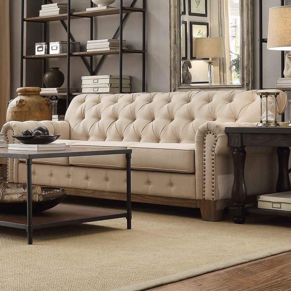 Chesterfield Lounge Greenwich Tufted Scroll Arm Nailhead Beige Chesterfield Sofa By Inspire Q Artisan