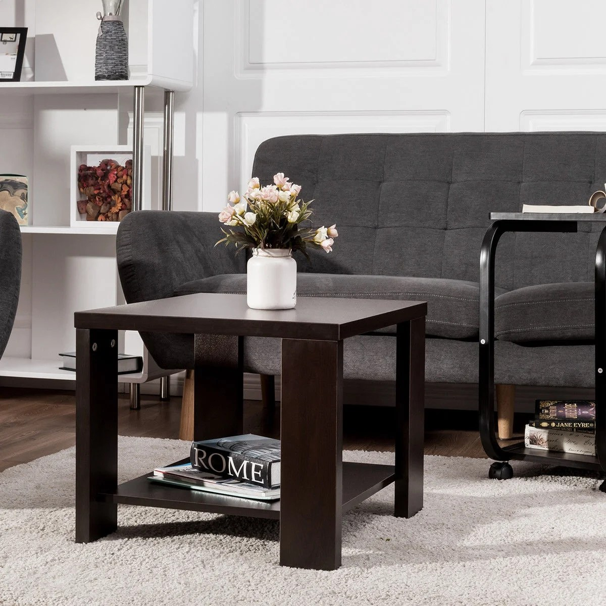 End Table For Living Room Costway End Table Square Coffee Tea Sofa Side Living Room Furniture With Storage Shelf