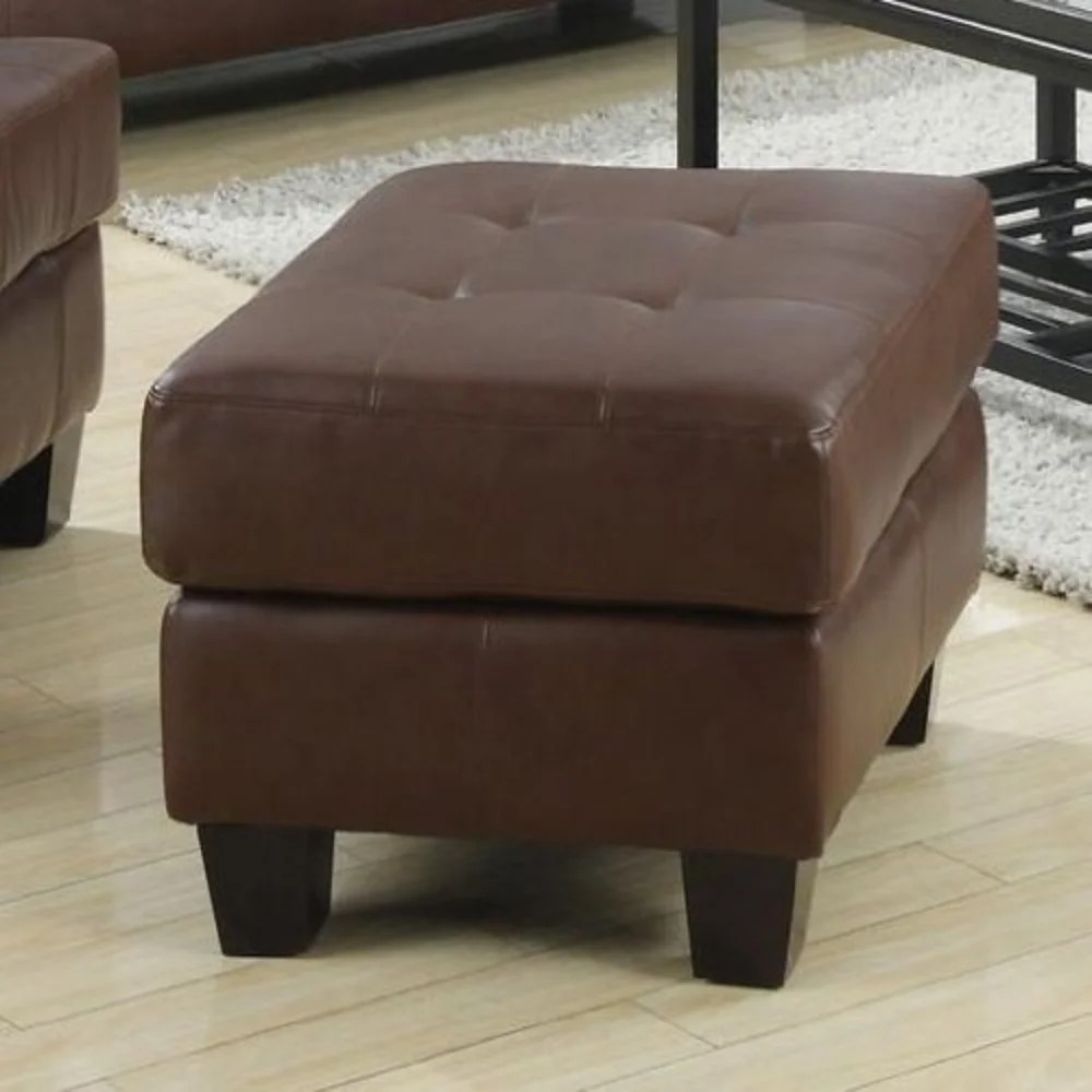 Ottoman Upholstery Ottoman With Leather Upholstery Dark Brown
