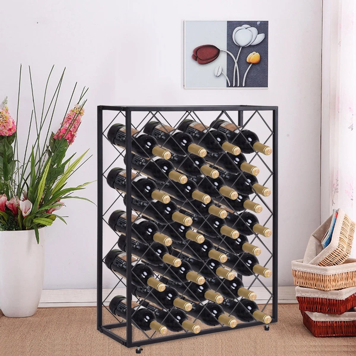 Metal Wine Storage Racks Gymax 32 Bottle Wine Rack Metal Storage Display Liquor Cabinet W Glass Table Top