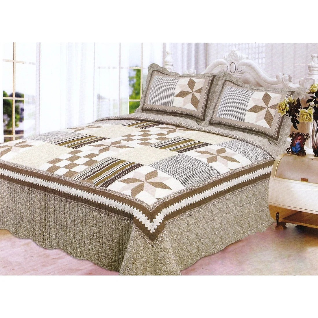 Bed Coverlet 3pcs Quilt Set Brown White Beige Multi Color Modern Design Quilt Bedspread Bed Coverlet