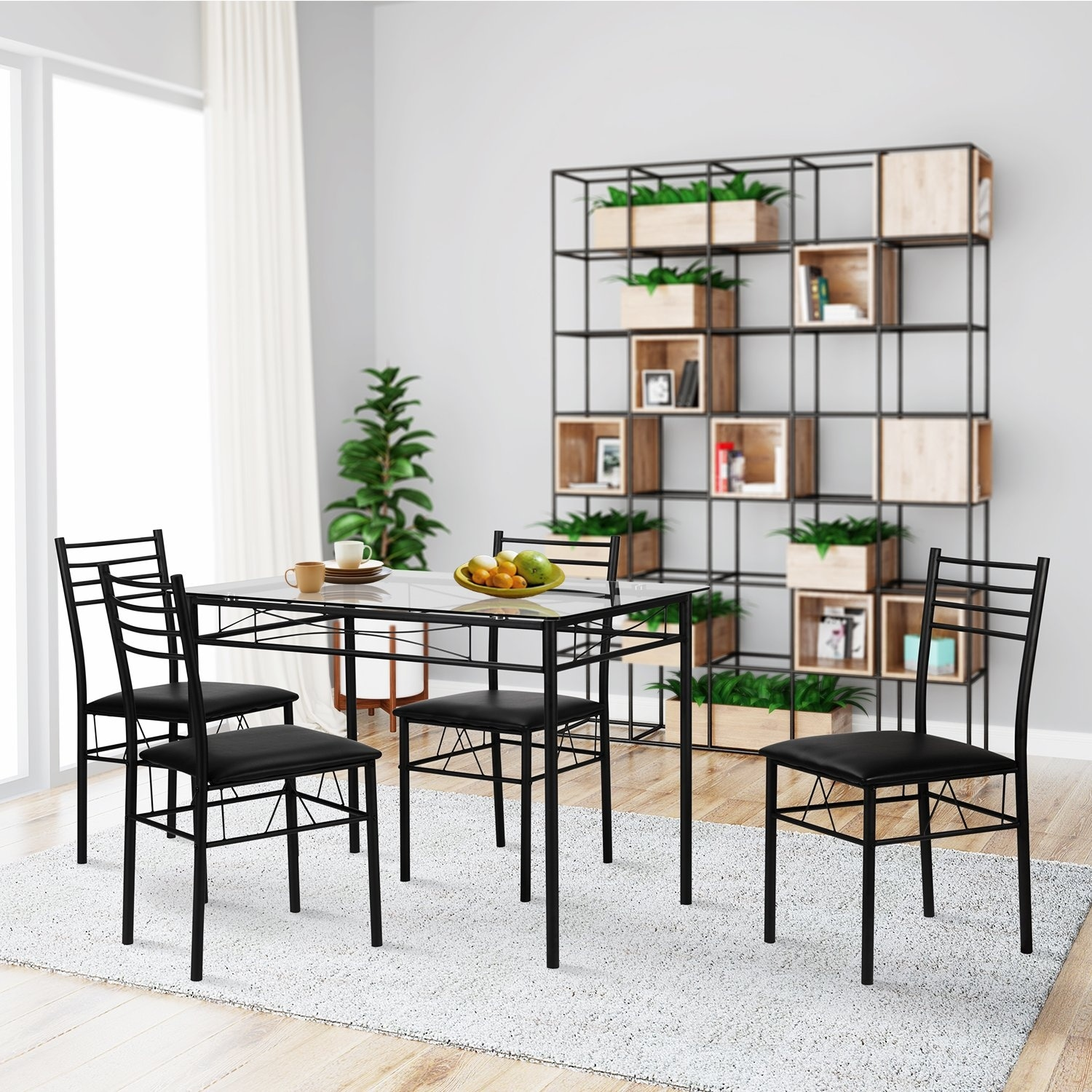 Glass Dining Table And Chairs Vecelo Dining Table Sets Glass Table With 4 Chairs Metal Kitchen Room Furniture 5 Pcs