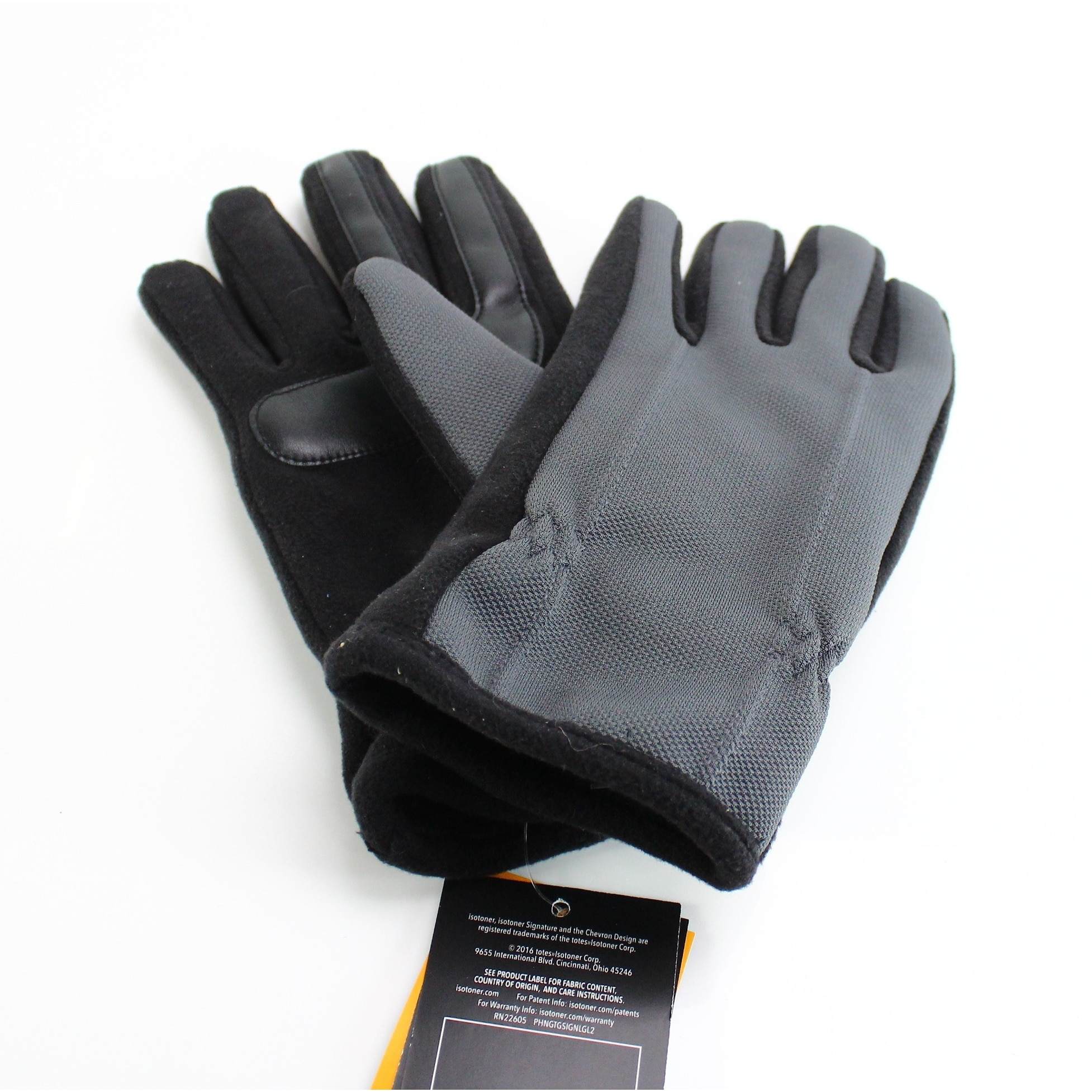 Xl Winter Isotoner New Black Gray Size Xl Men S Winter Gloves Polyester Accessory