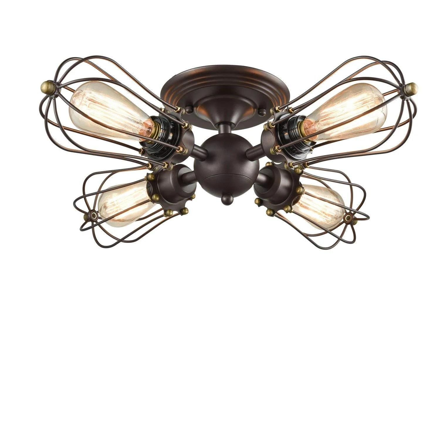 Ceiling Light Near Me 4 Light Oil Rubbed Seme Flush Mount Vintage Industrial Wire Cage Ceiling Light Antique Rust