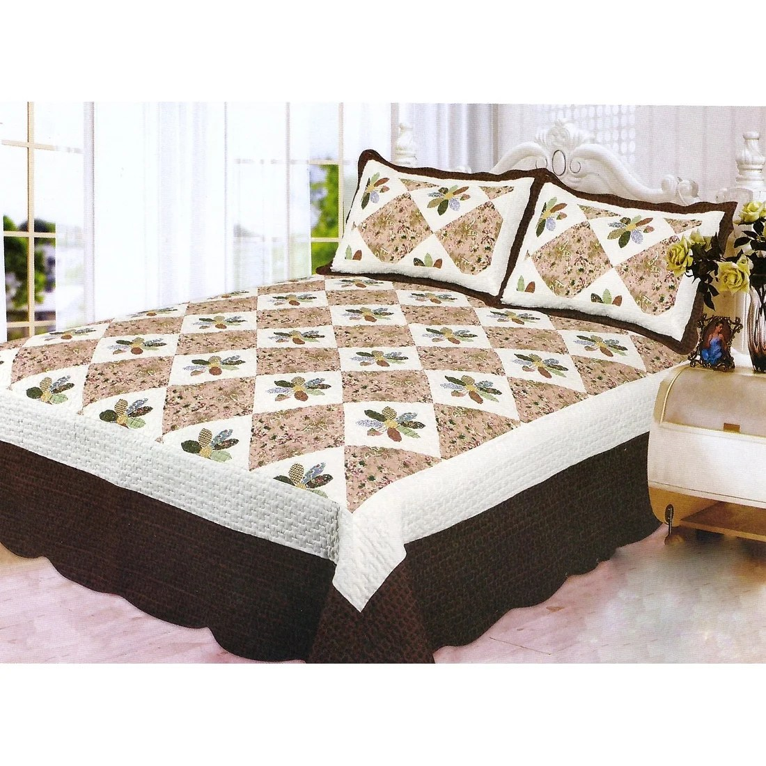 Bed Coverlet 3pcs Quilt Set Brown White Multi Color Modern Design Quilt Bedspread Bed Coverlet