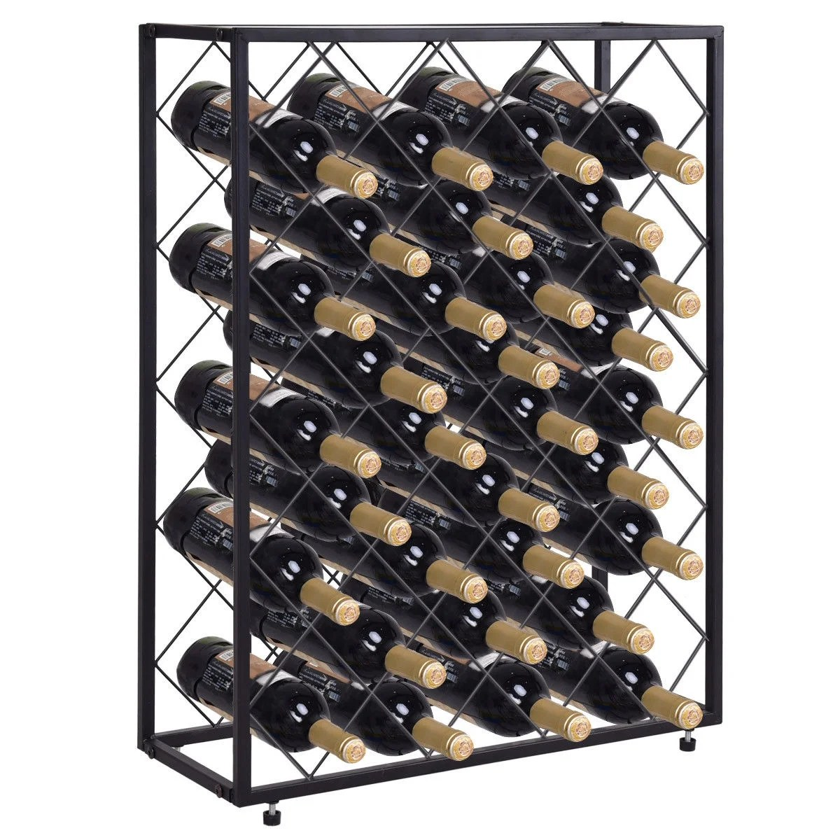 Metal Wine Racks Gymax 32 Bottle Wine Rack Metal Storage Display Liquor Cabinet W Glass Table Top