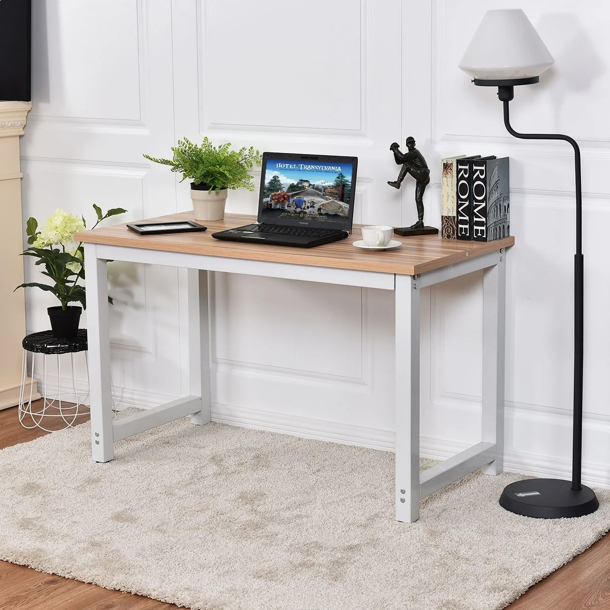 Workstation Furniture Costway Wood Computer Desk Pc Laptop Table Study Workstation Home Office Furniture