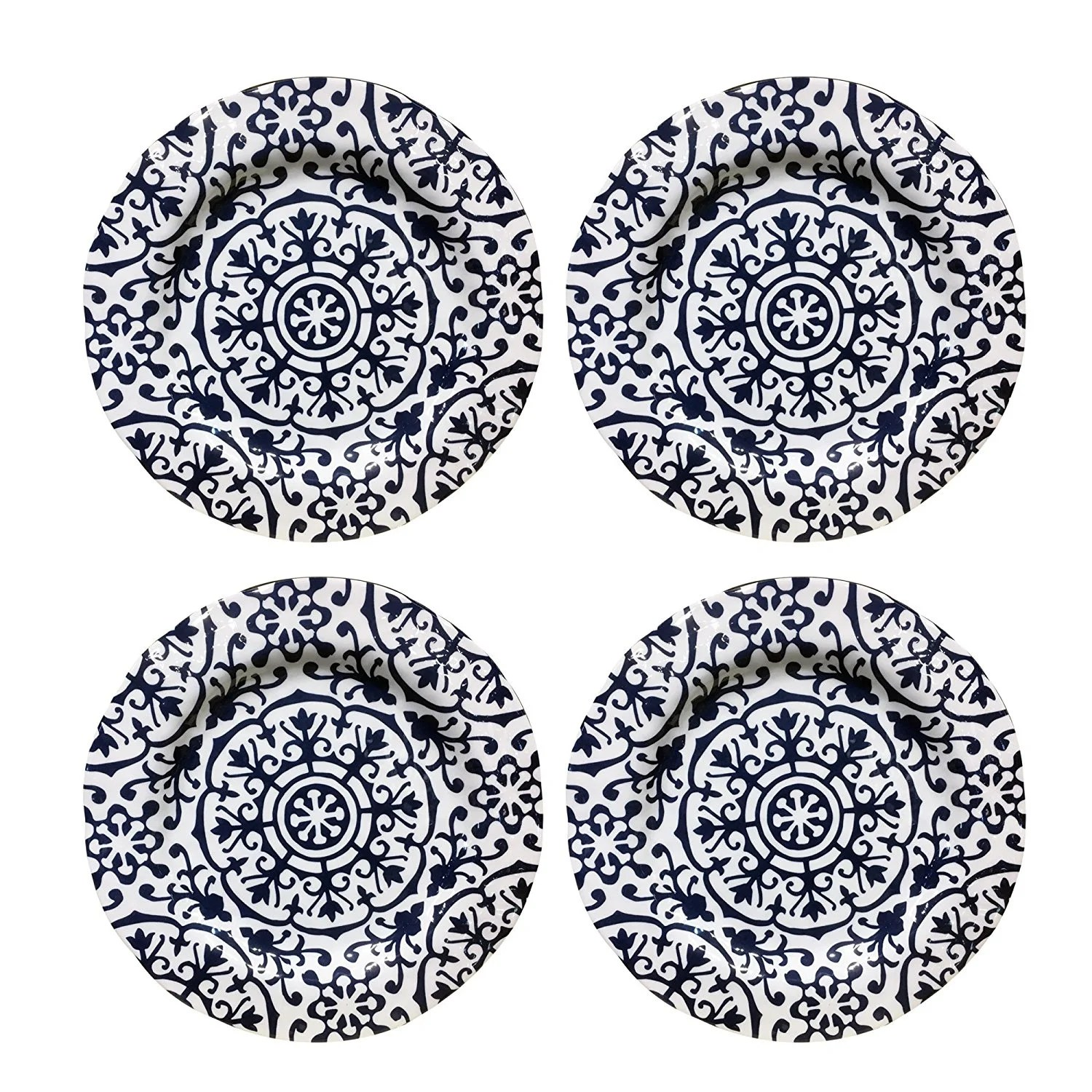 Atelier Seewhy American Atelier Blue Medallion Set Of 4 Melamine Dinner Plates