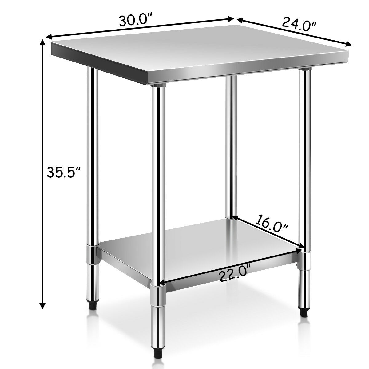 Stainless Restaurant Table Costway 24 X 30 Stainless Steel Work Prep Table Commercial Kitchen Restaurant White