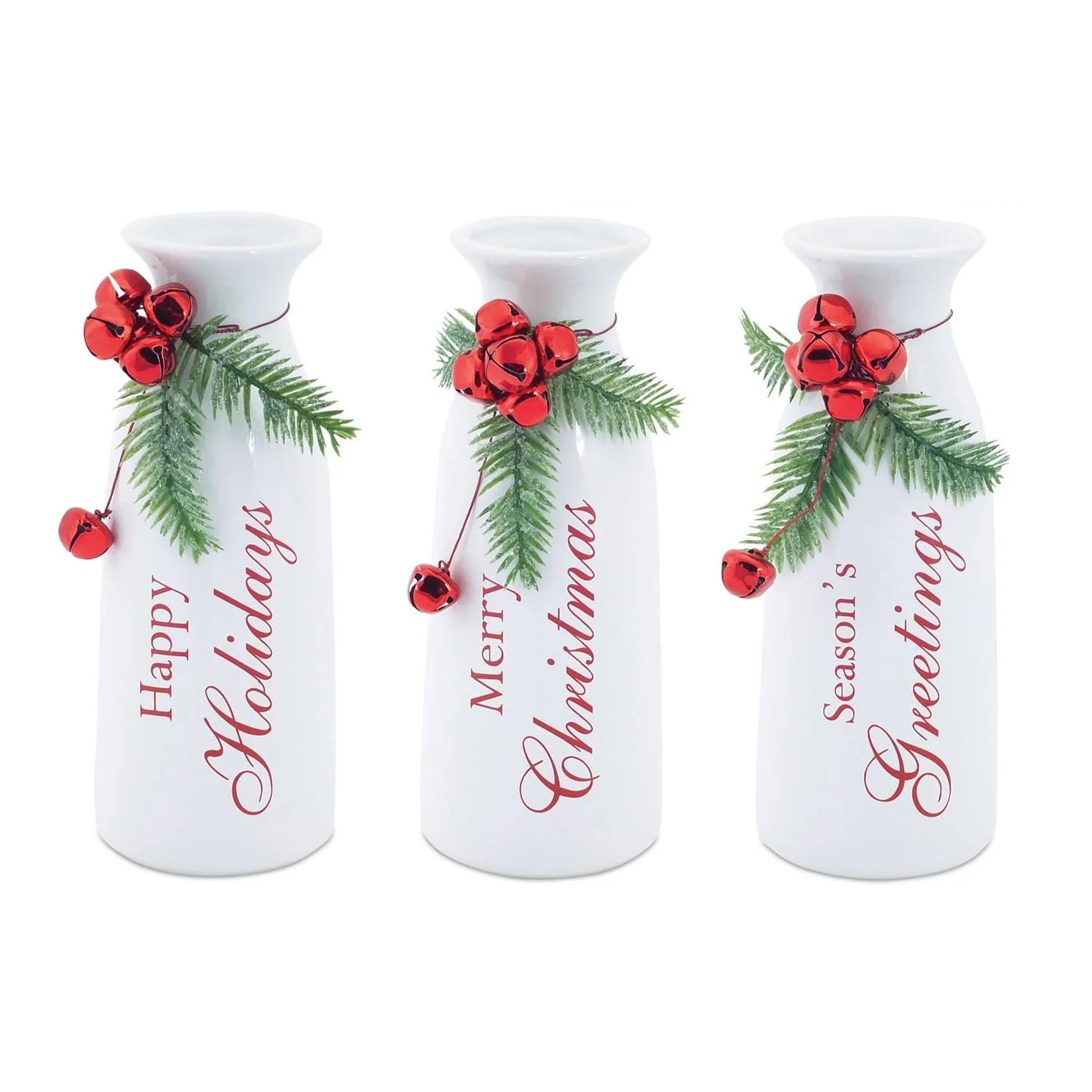 Milk Bottles For Decoration Set Of 3 White Milk Bottle Christmas Decorations With Jingle Bells 9