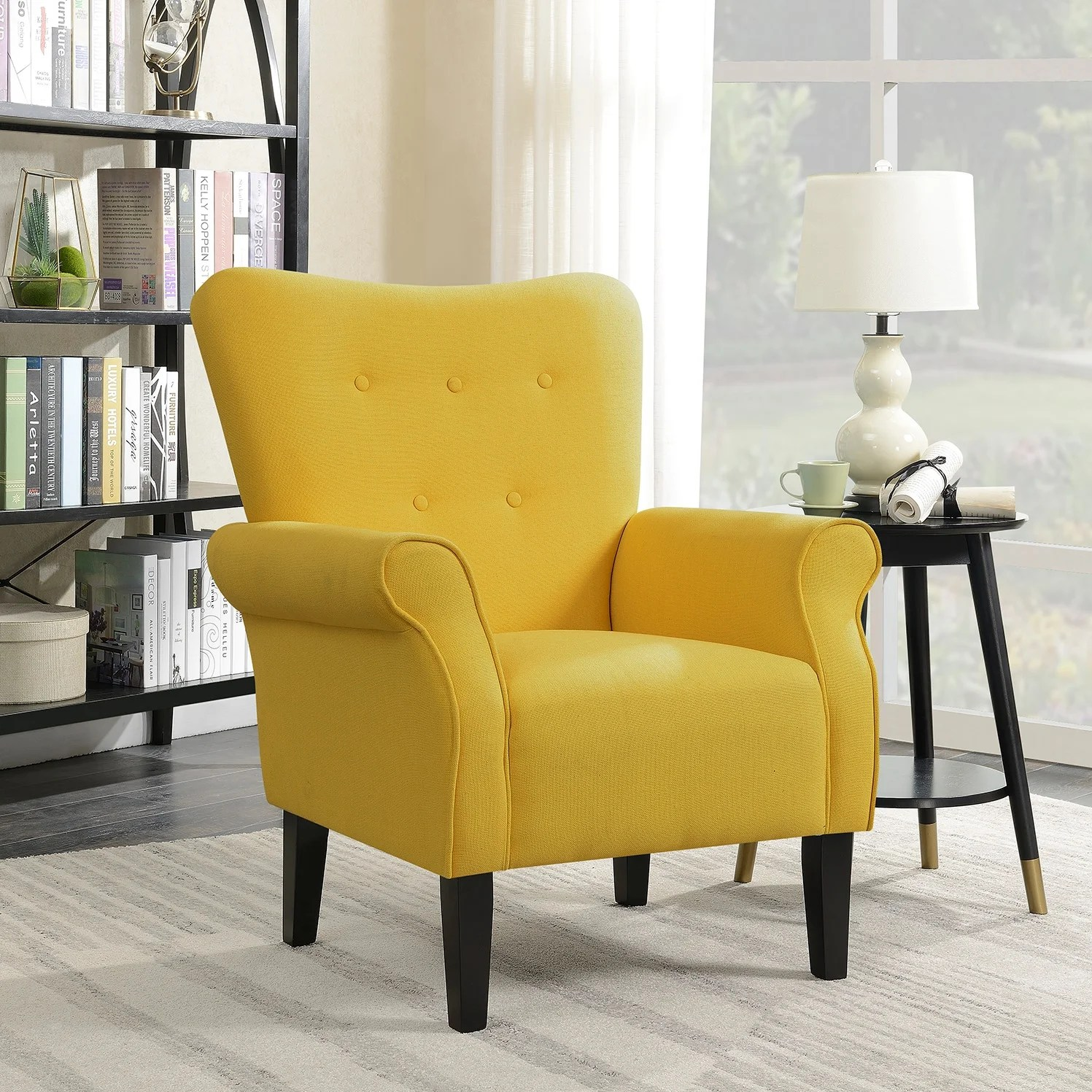Yellow Decor For Living Room Belleze Modern Linen Accent Chair Armrest Living Room W Wood Leg Citrine Yellow